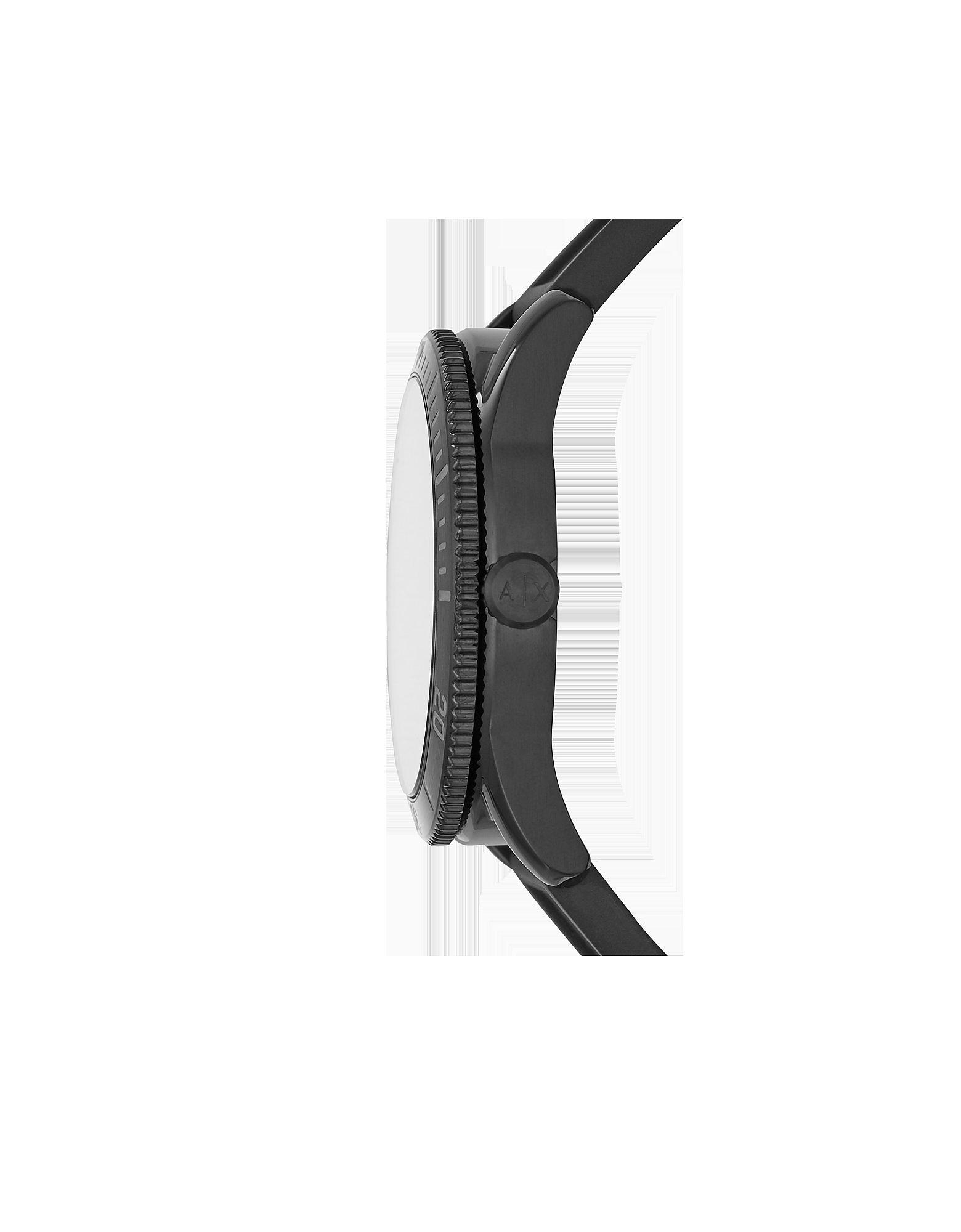 Armani Exchange | черный Enzo - Черные Мужские Часы Хронограф на Силиконовом Ремешке | Clouty