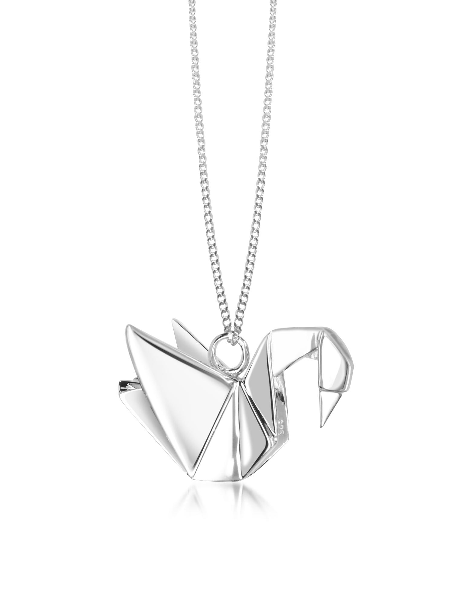 Origami | серебристый Длинное Ожерелье из Серебра 925 пробы с Подвеской-Лебедем | Clouty