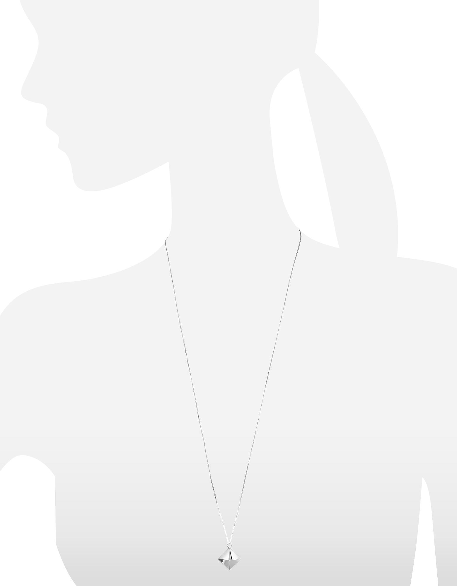 Origami | серебристый Длинное Ожерелье из Серебра 925 пробы с Подвеской-Призмой | Clouty