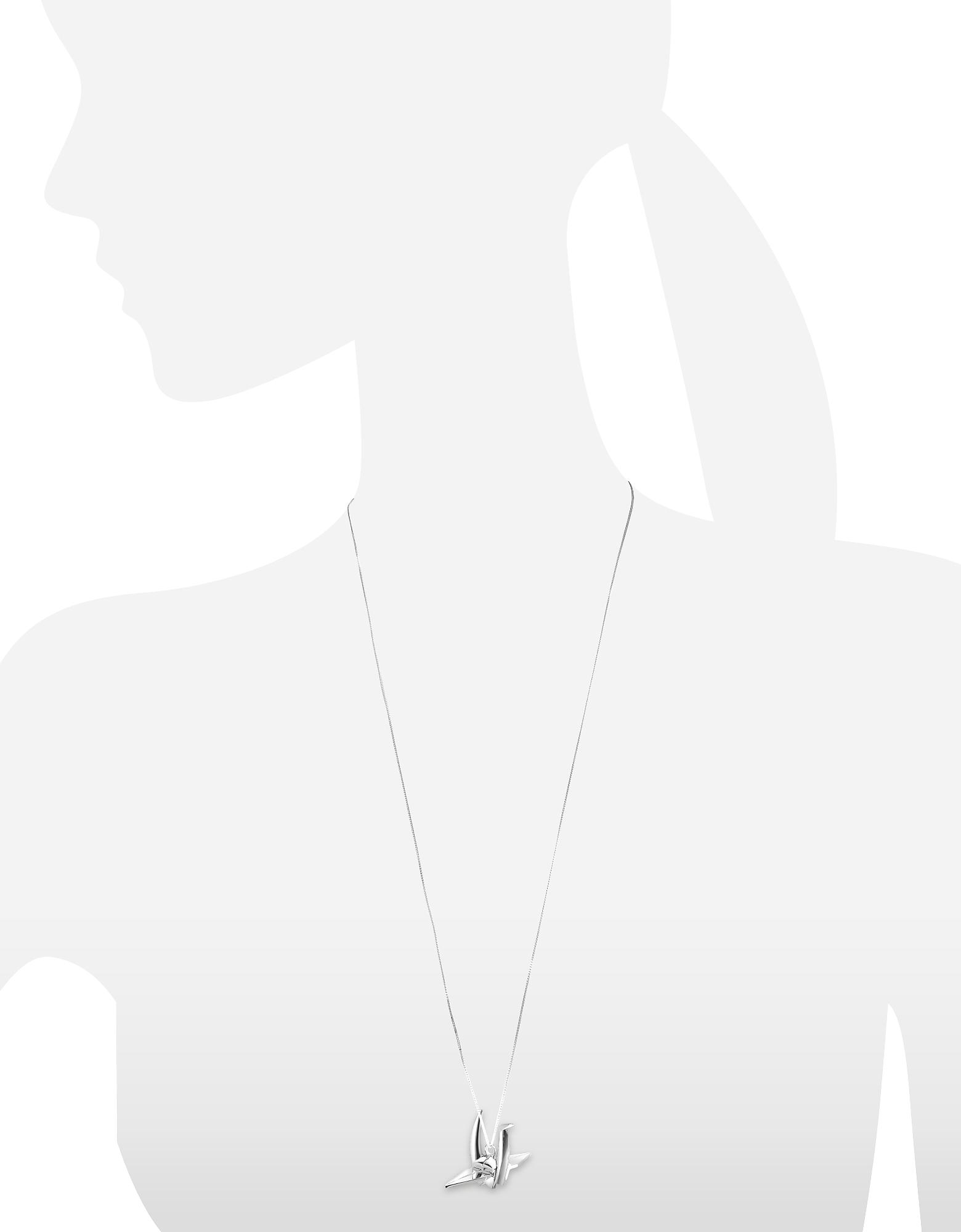 Origami | серебристый Длинное Ожерелье из Серебра 925 пробы с Подвеской-Птицей | Clouty