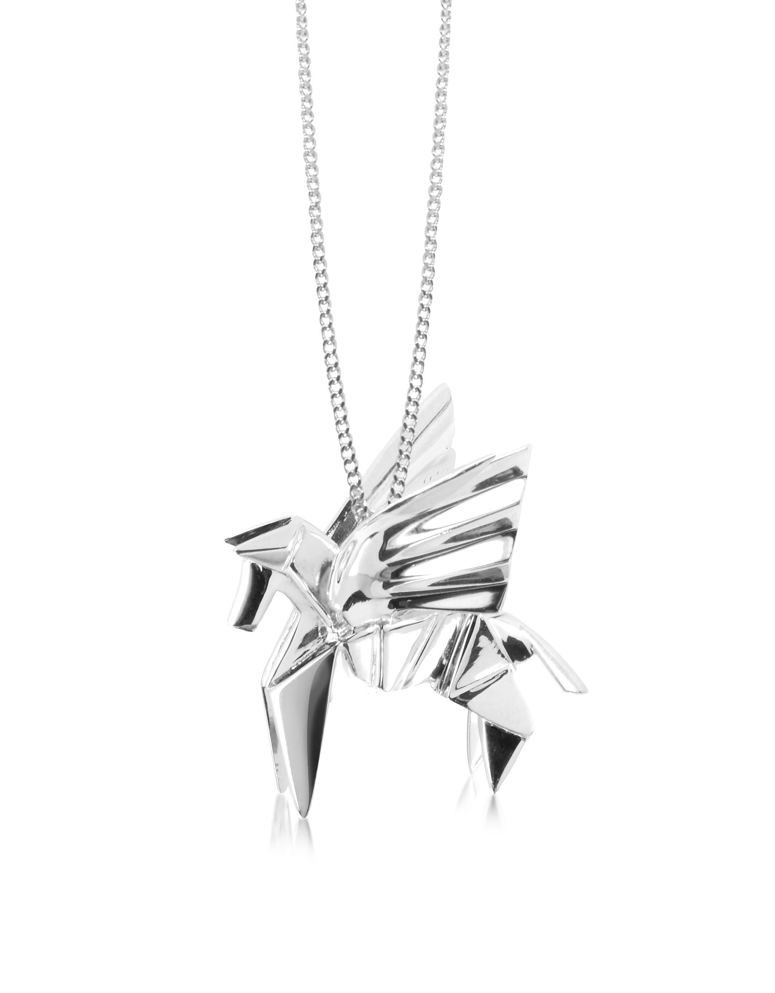 Origami   серебристый Длинное Ожерелье из Серебра 925 пробы с Подвеской-Пегасом   Clouty