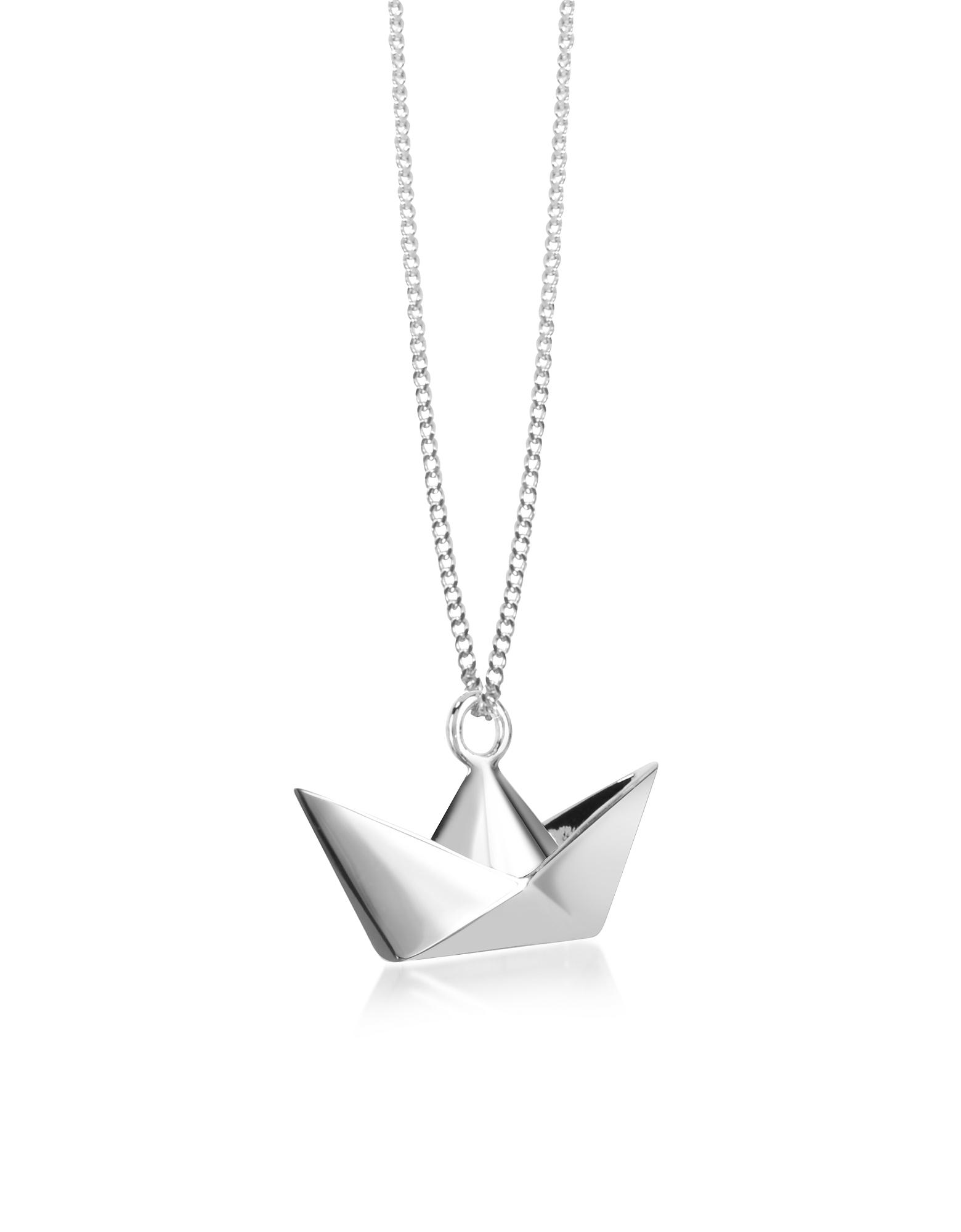 Origami | серебристый Ожерелье из Серебра 925 пробы с Подвеской-Лодкой | Clouty