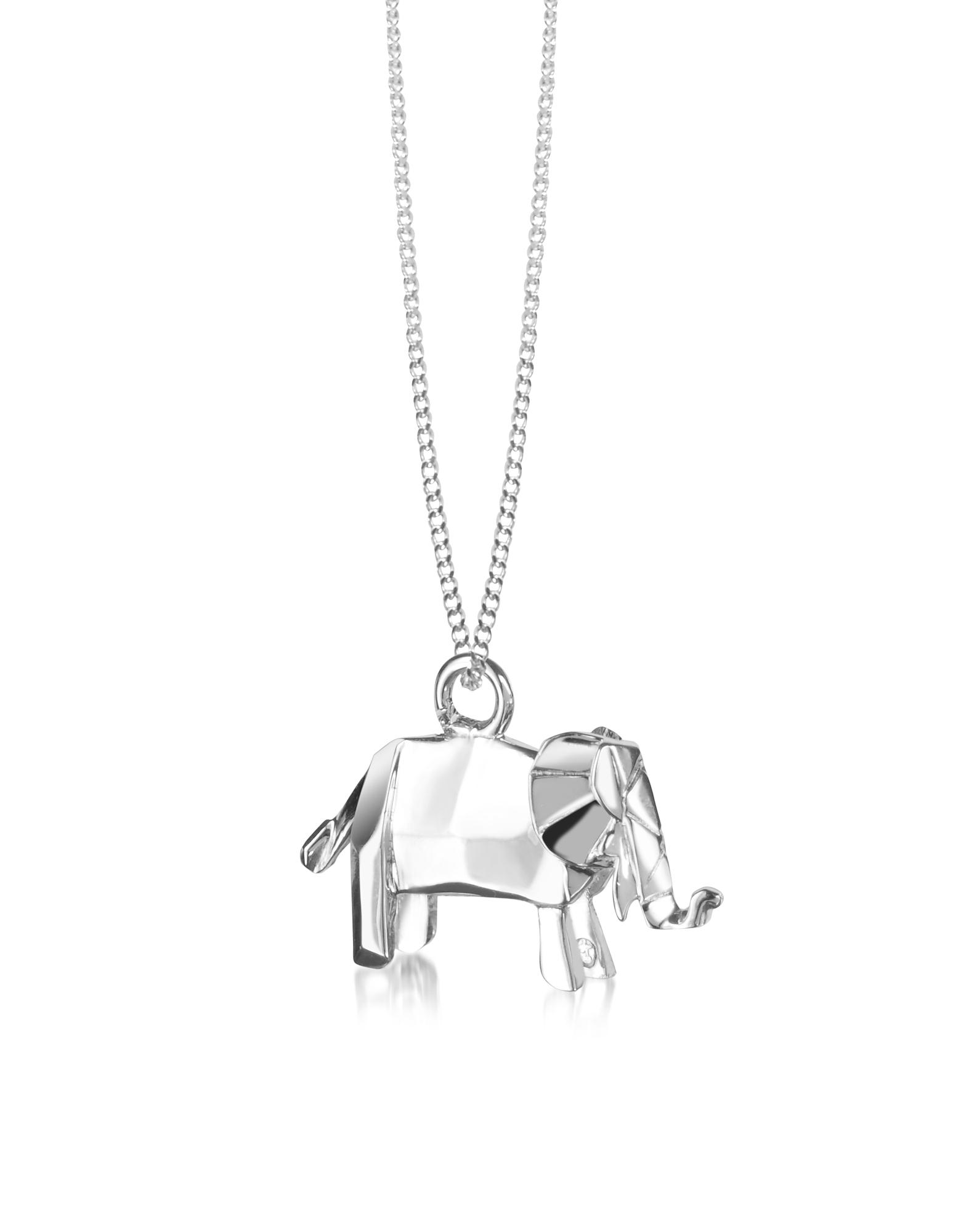 Origami | серебристый Ожерелье из Сереьра 925 пробы с Подвеской-Слоном | Clouty