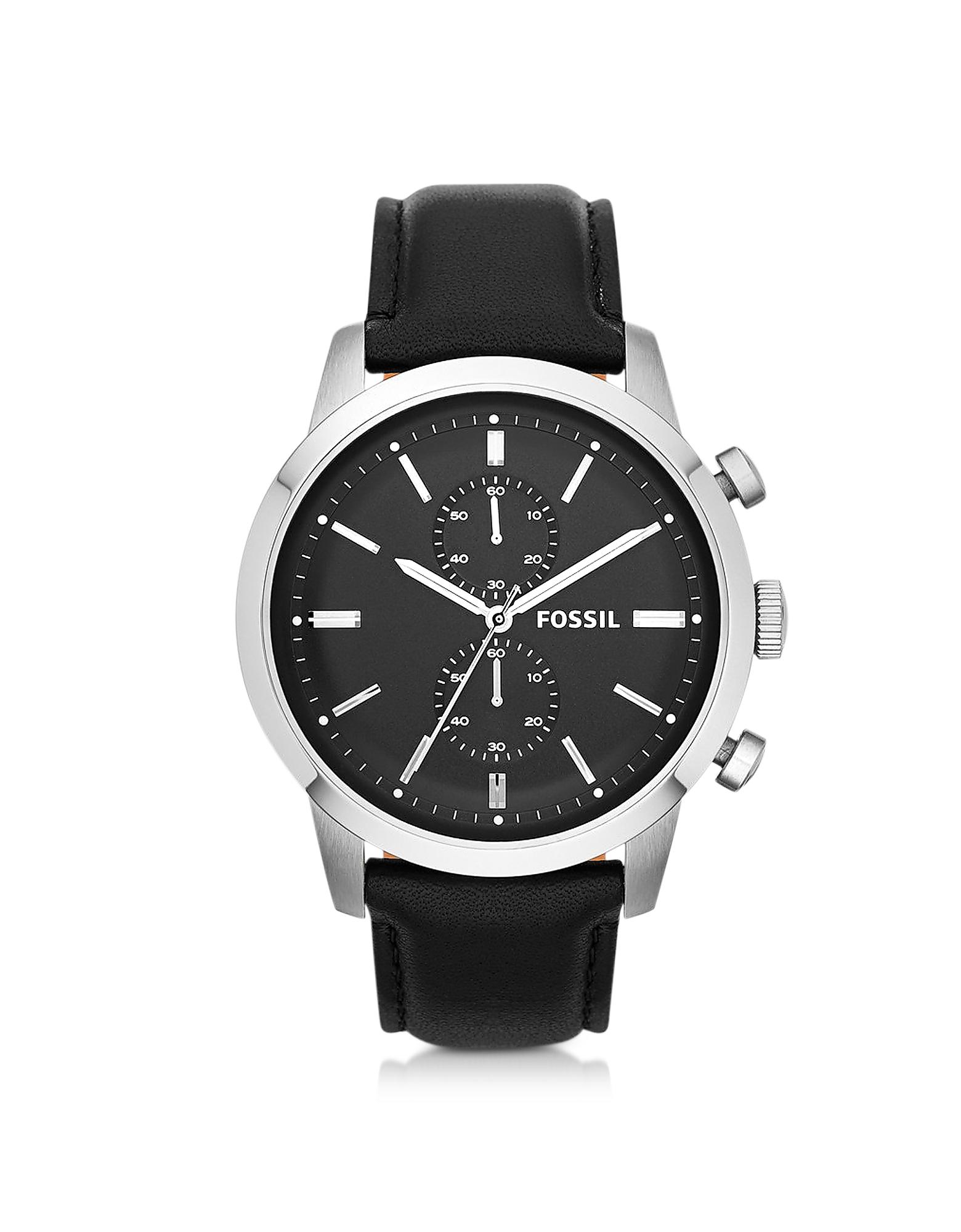 Fossil | черный Townsman - Мужские Часы Хронограф на Черном Кожаном Ремешке | Clouty