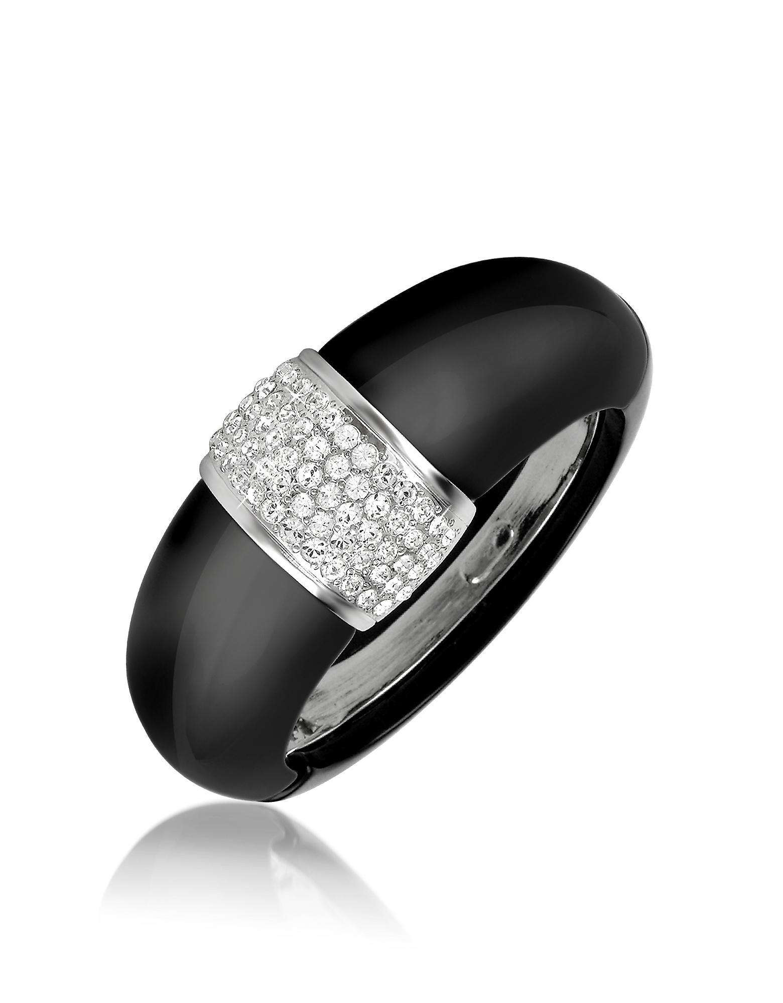 AZ Collection   Черный Браслет-Манжета с Кристаллами   Clouty