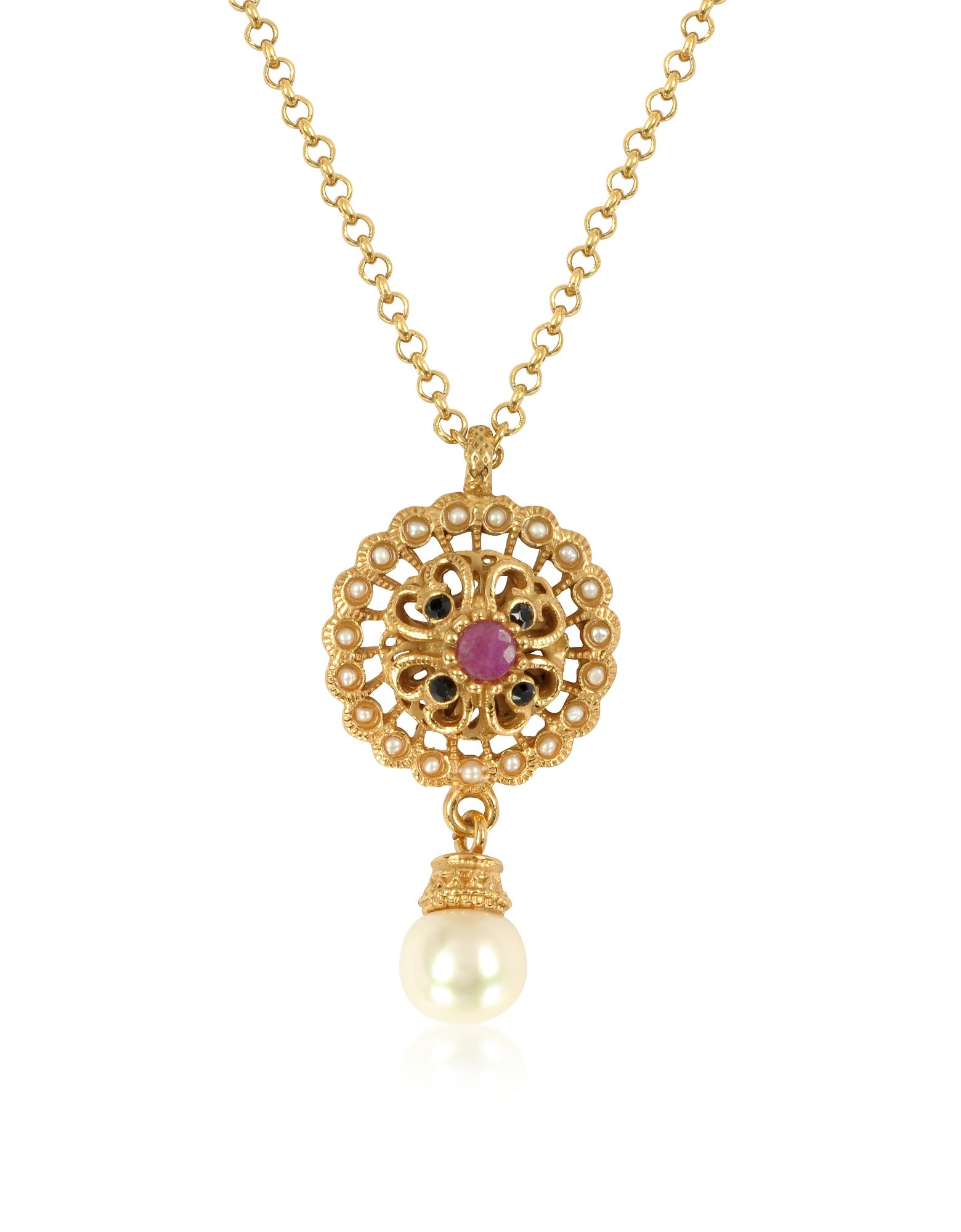 Alcozer & J | золотой Круглое Ожерелье с Жемчужинами и Драгоценными Камнями | Clouty