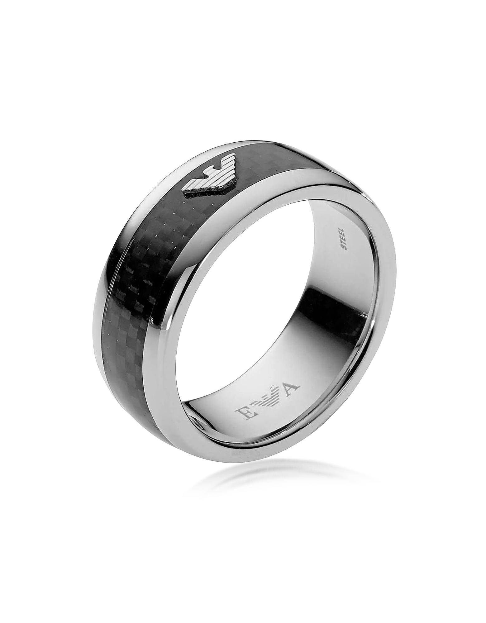 Emporio Armani | черный Мужское Кольцо из Углеродного Волокна и Нержавеющей Стали | Clouty