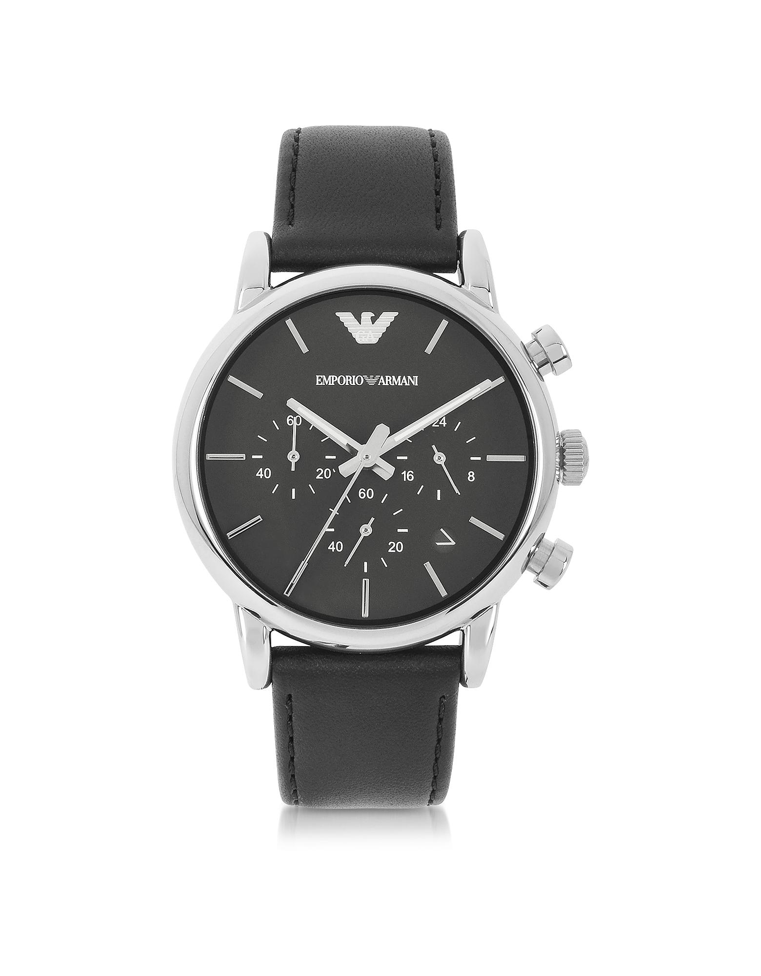 Emporio Armani | черный Мужские Часы Хронограф с Кожаным Ремешком | Clouty