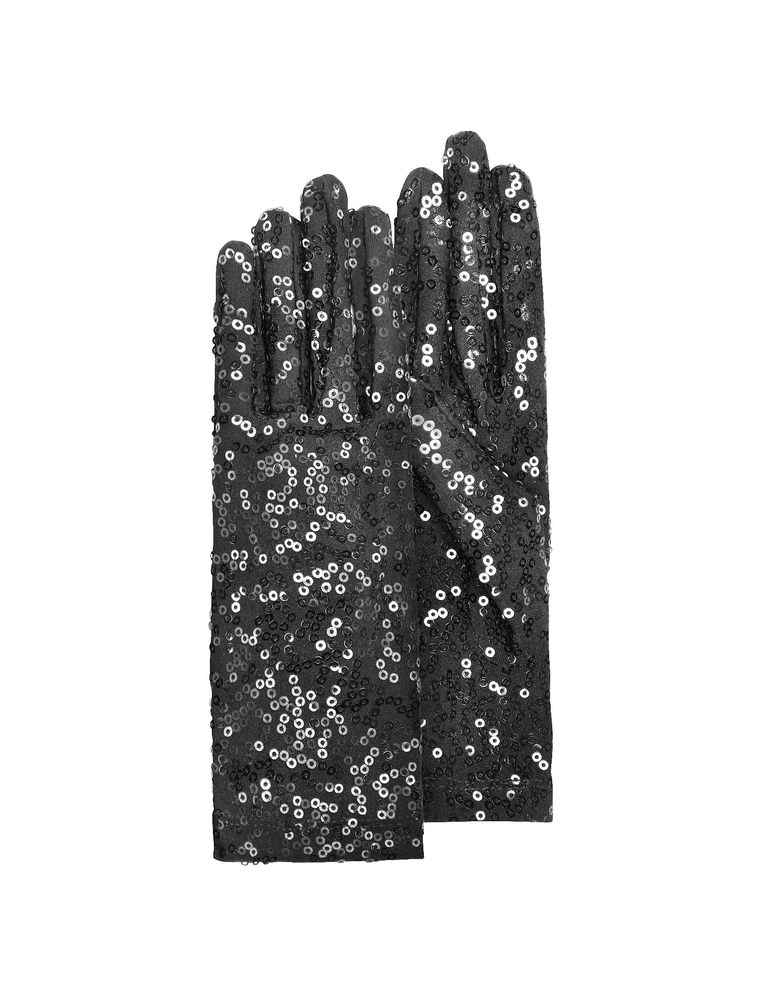 Forzieri Exclusives | черный Черные Женские Перчатки с Пайетками | Clouty