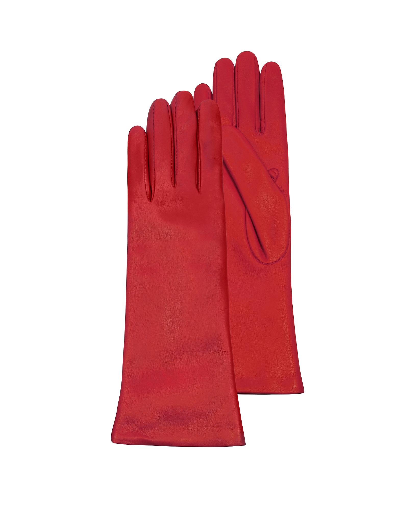 Forzieri Exclusives | красный Длинные Красные Кожаные Женские Перчатки с Подкладкой из Кашемира | Clouty