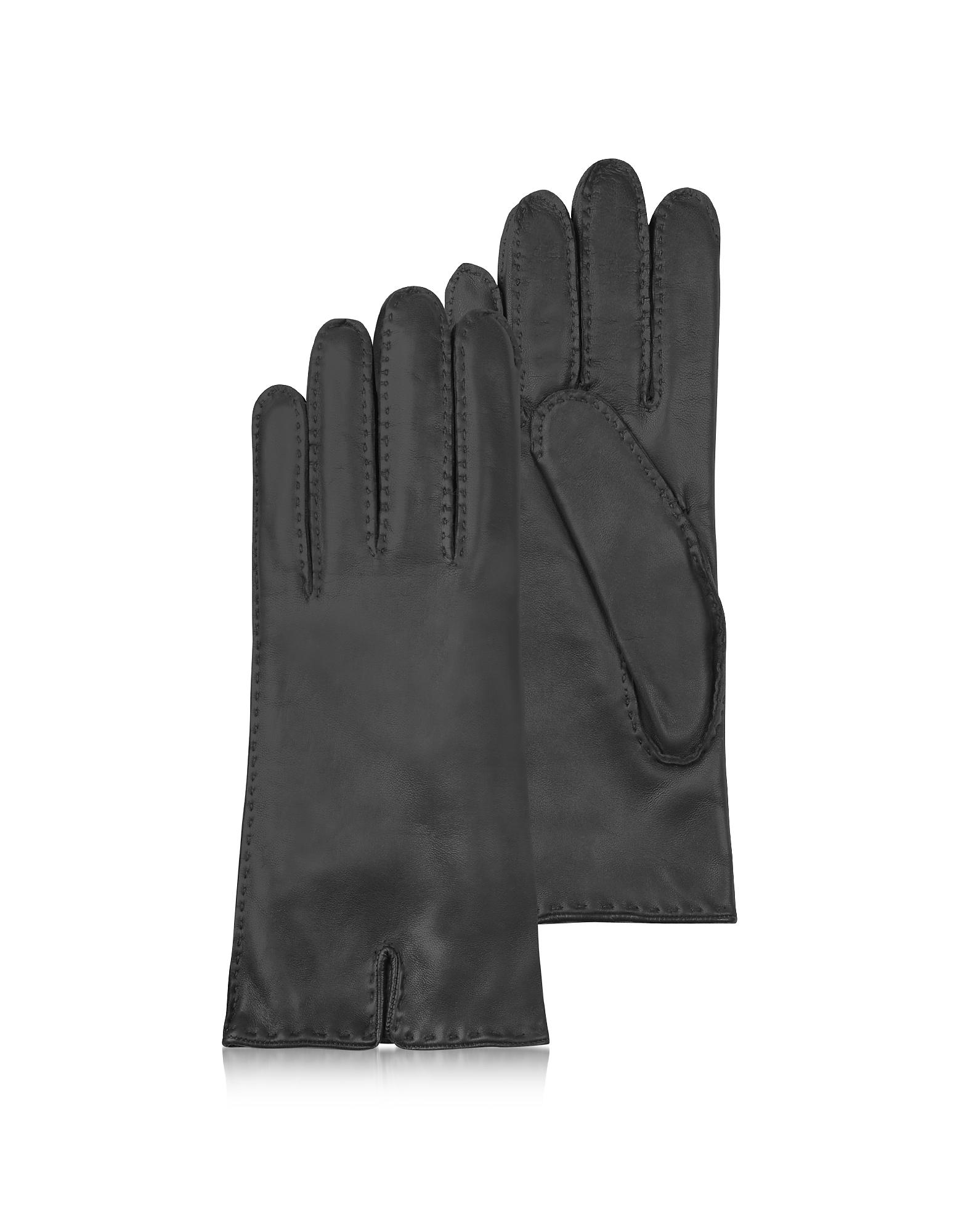 Forzieri Exclusives   черный Итальянские Черные Кожаные Женские Перчатки с Подкладкой из Кашемира   Clouty