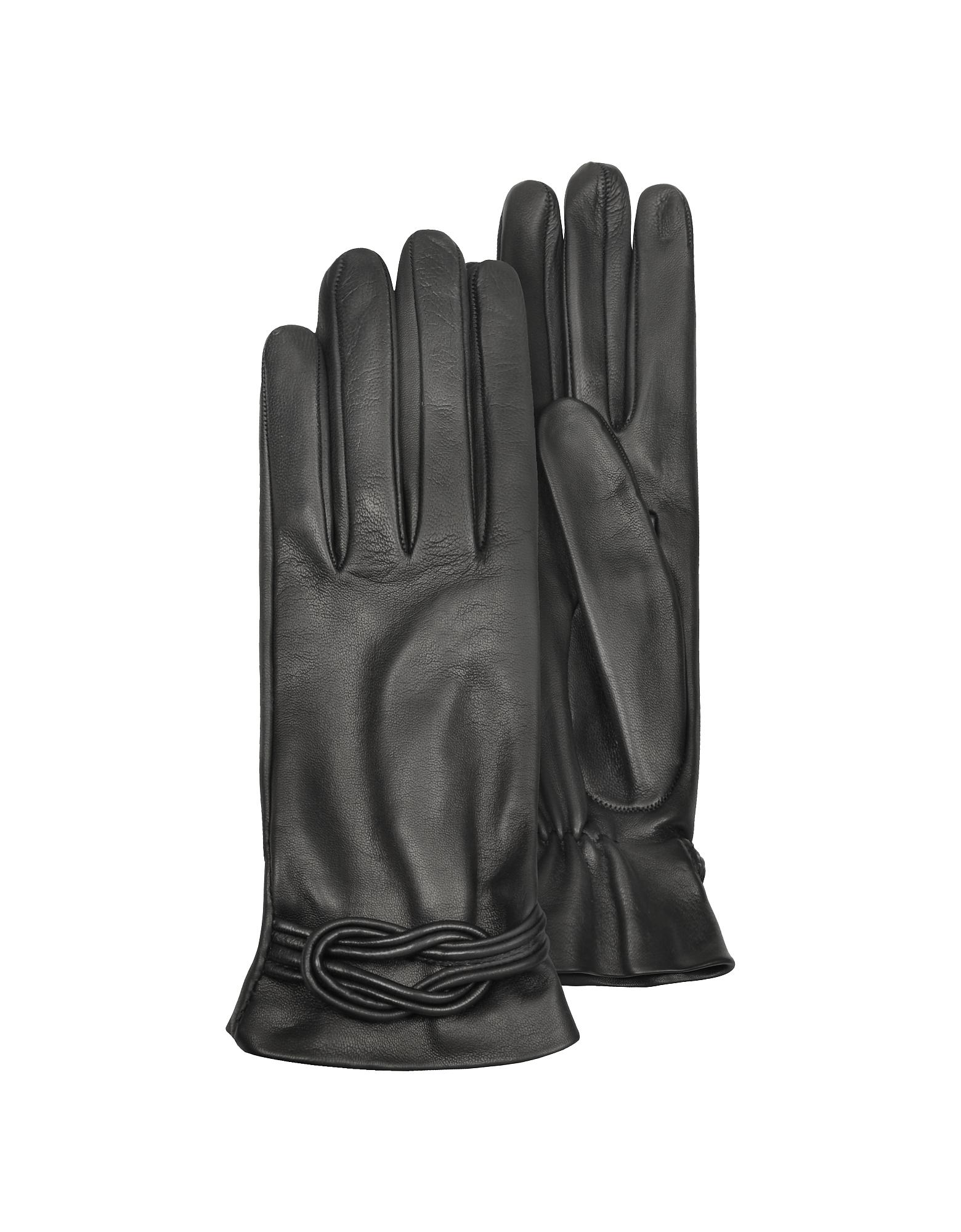 Forzieri Exclusives   черный Черные Женские Кожаные Перчатки с Узлом   Clouty