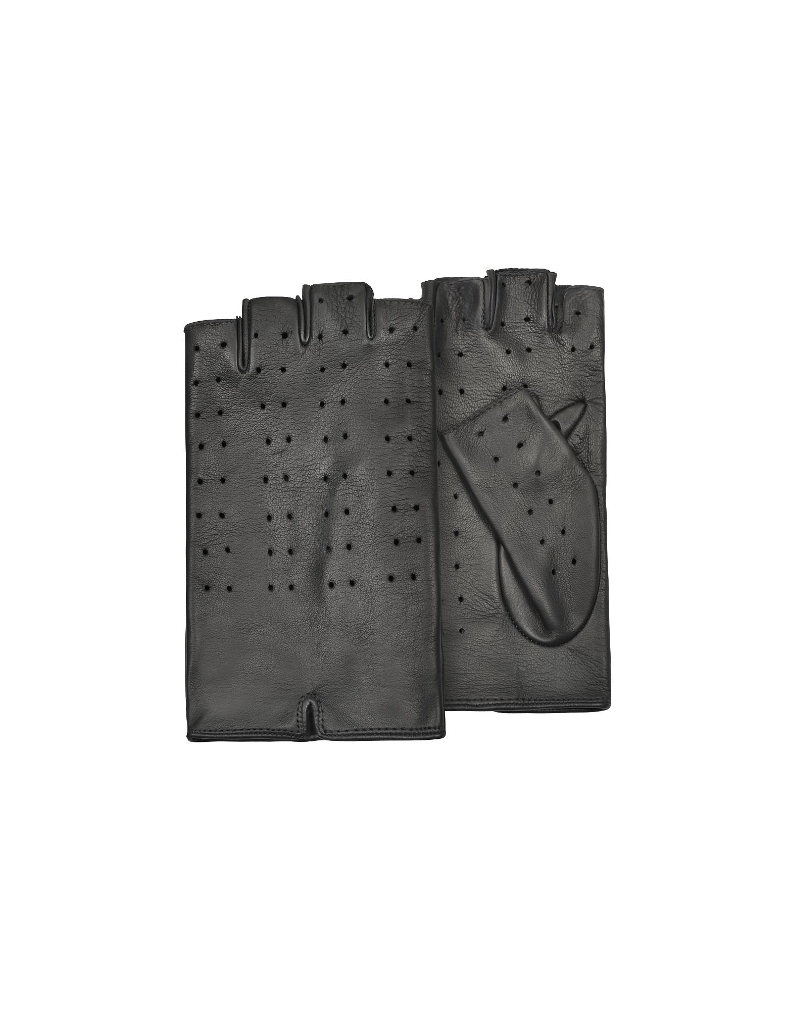 Forzieri Exclusives   черный Черные Женские Перфорированные Кожаные Перчатки без Пальцев   Clouty