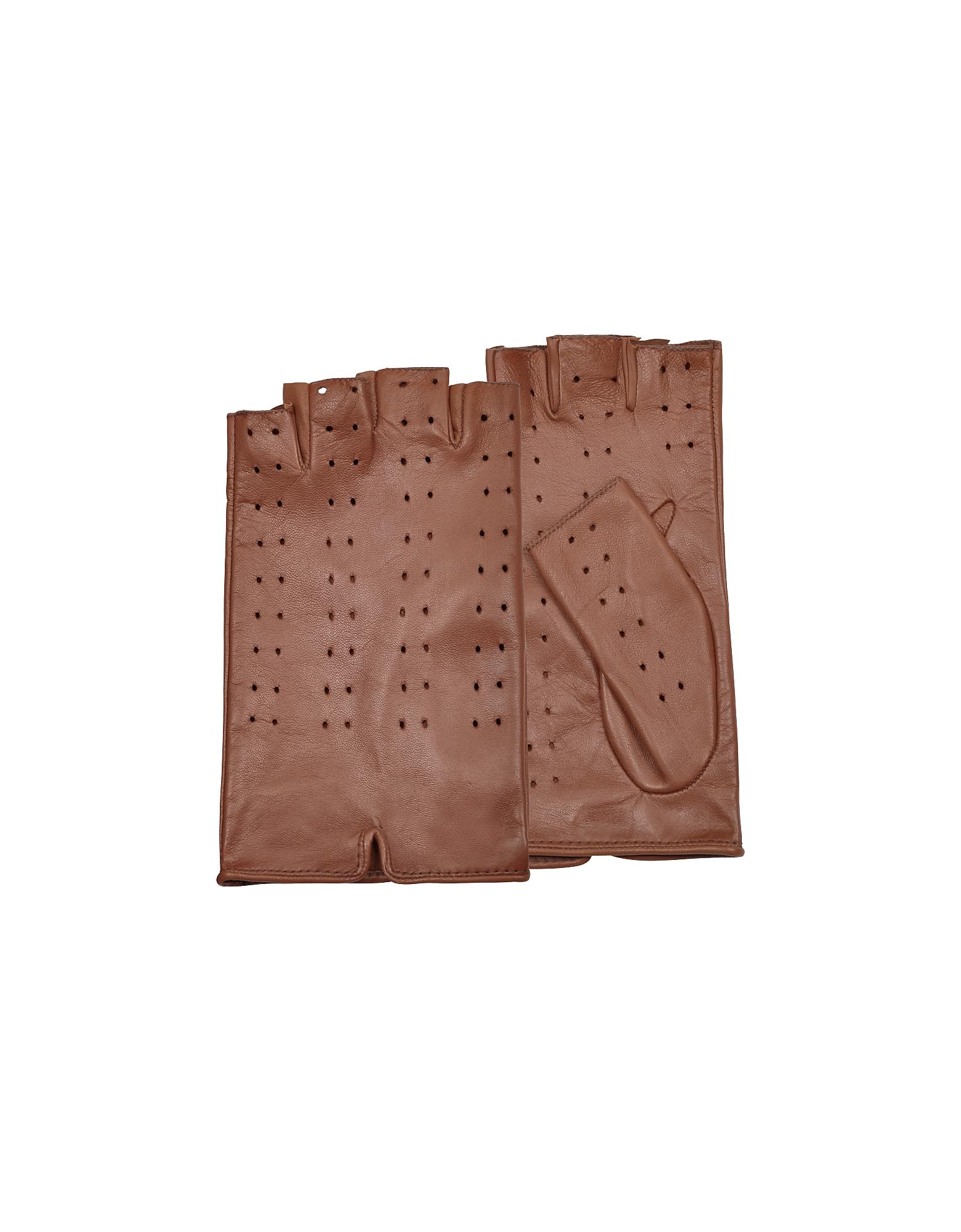 Forzieri Exclusives | коричневый Женские Перфорированные Кожаные Перчатки Цвета Загара без Пальцев | Clouty