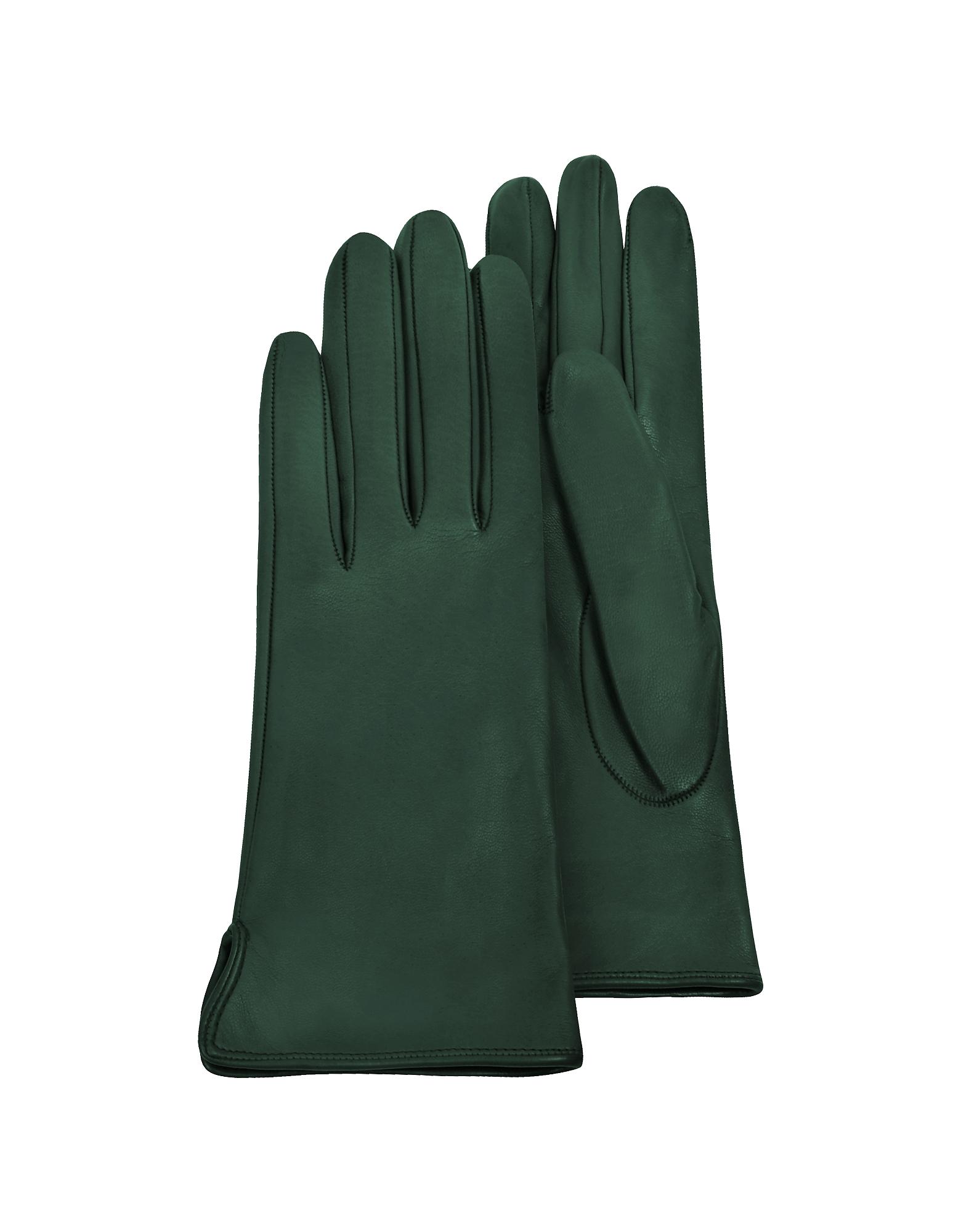 Forzieri Exclusives | темно-зеленый Зеленые Женские Перчатки из Кожи Теленка с Шелковой Подкладкой | Clouty