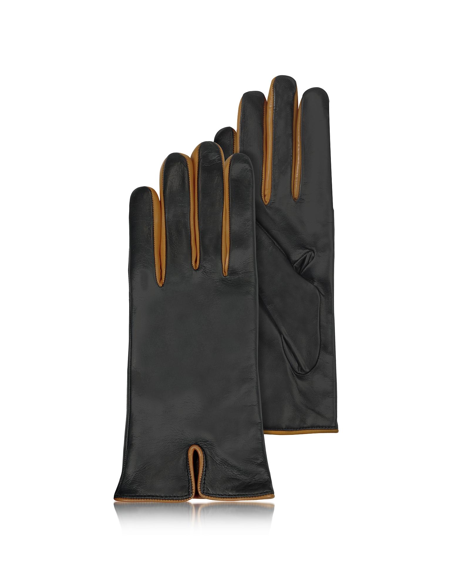 Forzieri Exclusives   черный Итальянские Кожаные Женские Перчатки Черного и Коньячного Цветов с Подкладкой из Кашемира   Clouty