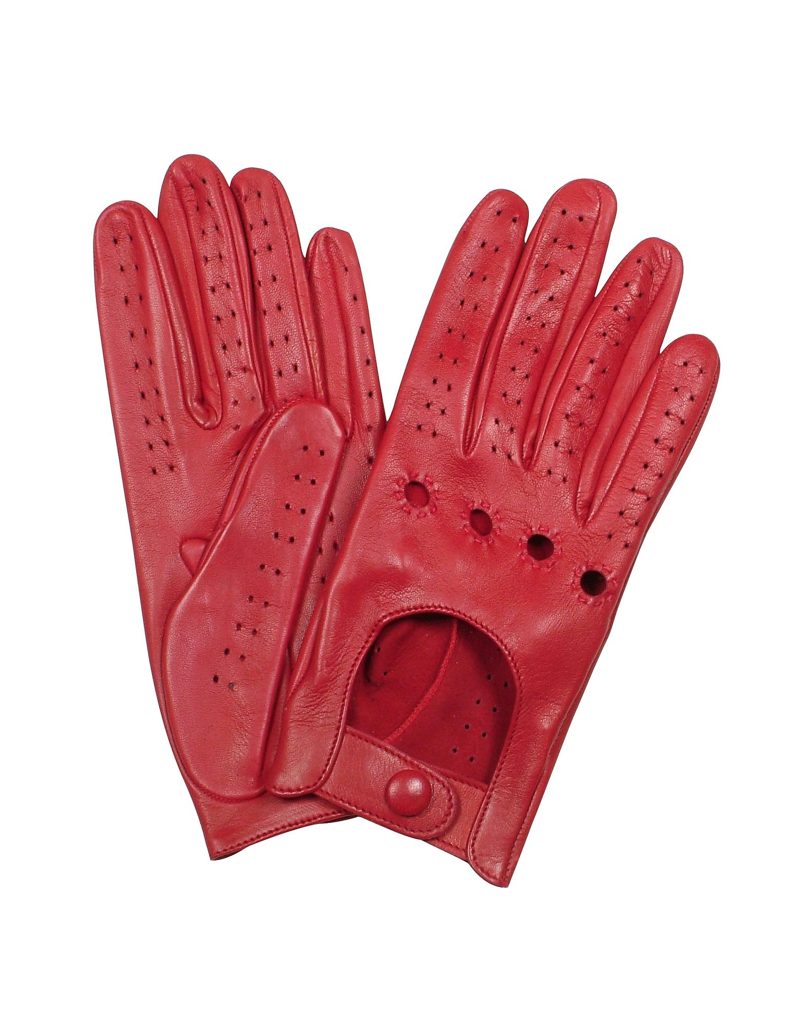 Forzieri Exclusives   красный Итальянские Красные Женские Кожаные Перчатки с Перфорацией   Clouty