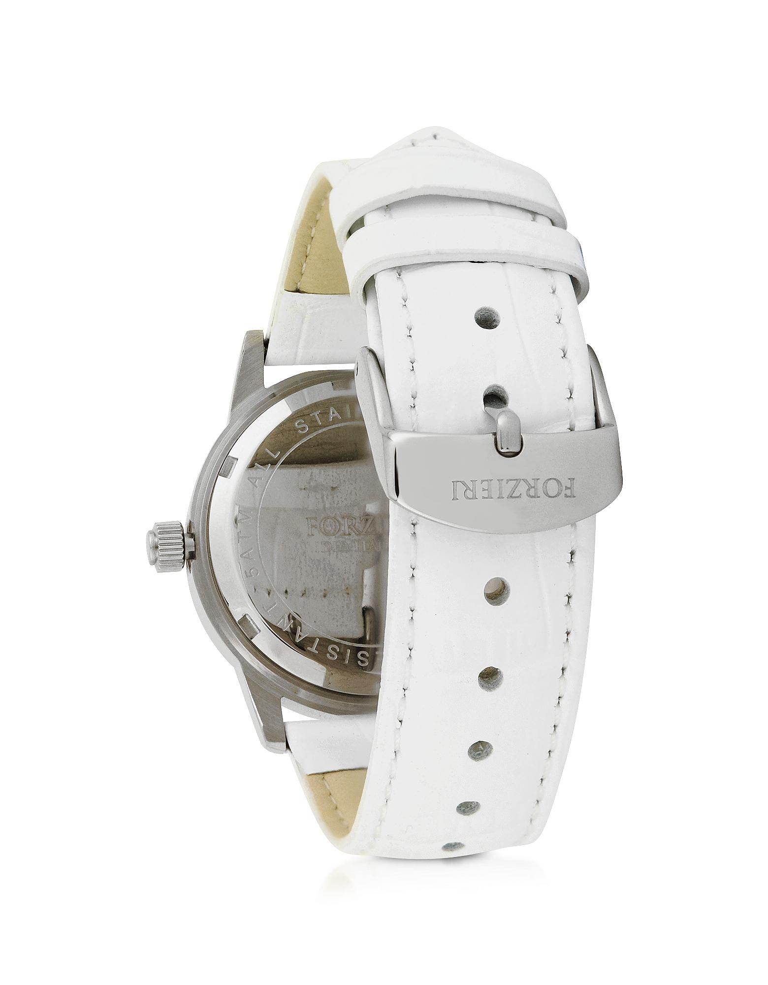 Forzieri Exclusives | серебристый- черный Discovery Lady - Серебристые Женские Часы из Нержавеющей Стали с Ремешком из Натуральной Кожи | Clouty