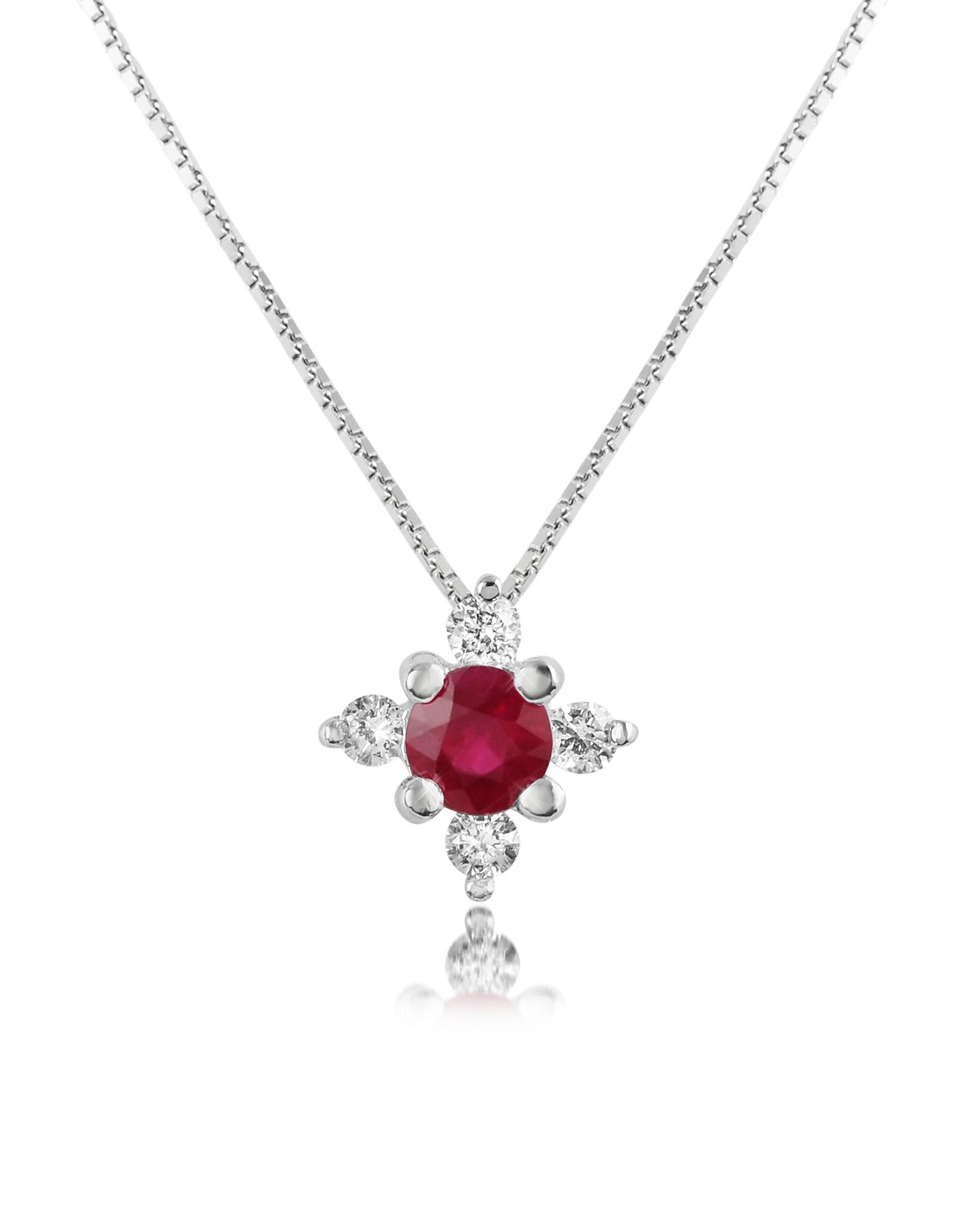 Incanto Royale | красный Victoria - Колье с Подвеской-Цветком из Рубина и Бриллиантов | Clouty