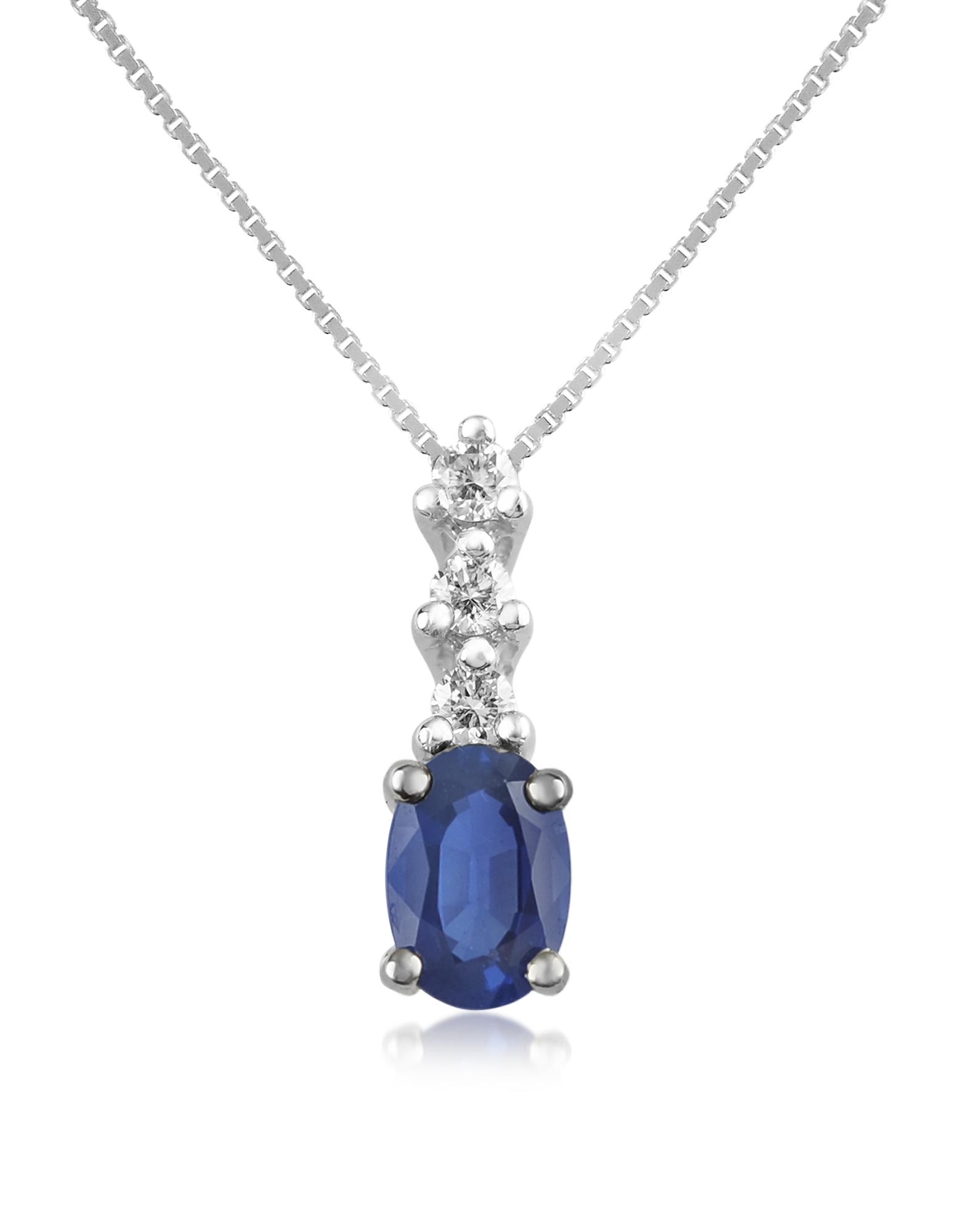 Incanto Royale   синий Victoria - Колье из Золота 18 крата с Подвеской из Сапфира и Бриллиантов   Clouty