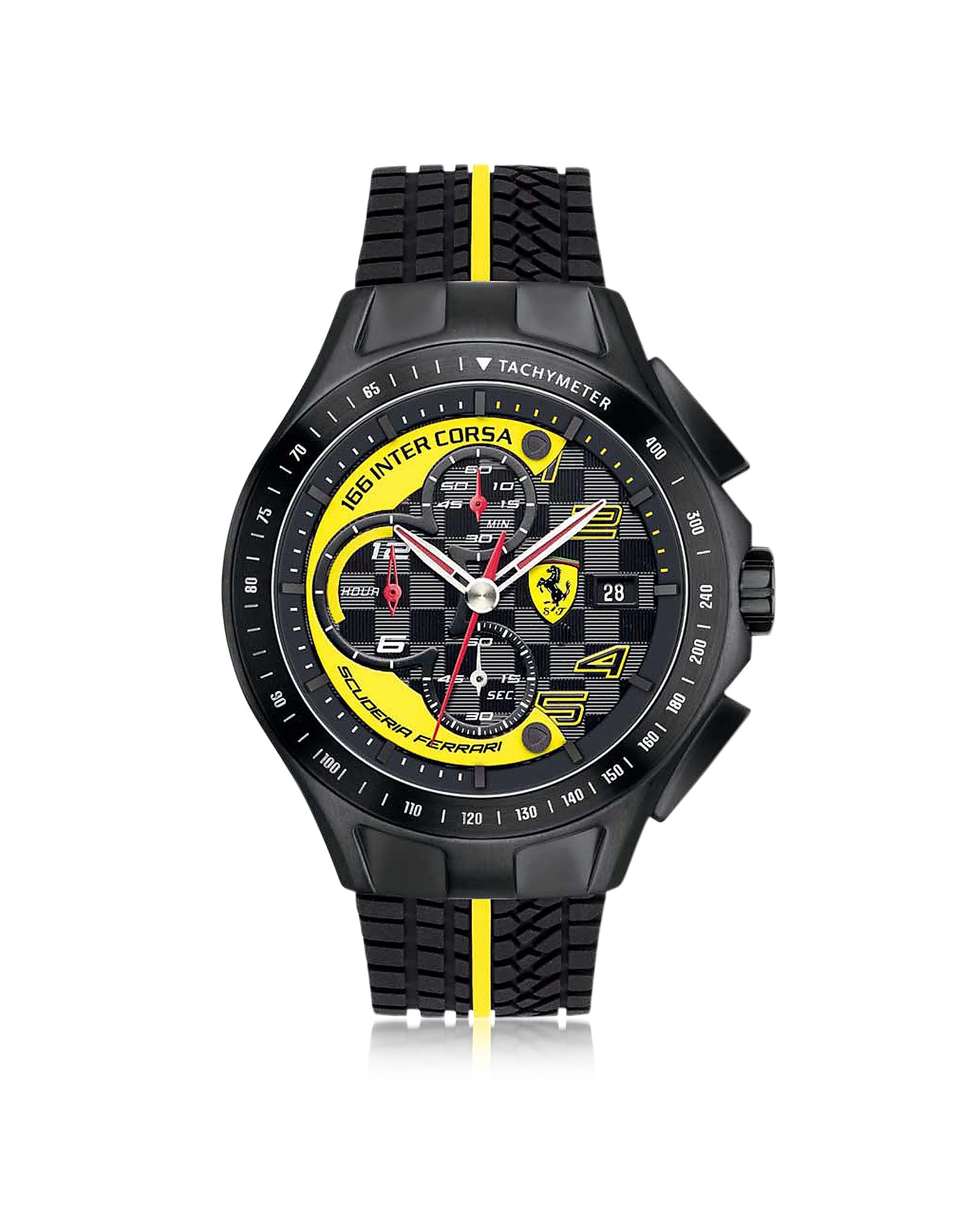 Ferrari | черный Race Day - Черные и Желтые Мужские Часы Хронограф из Нержавеющей Стали с Силиконовым Ремешком | Clouty