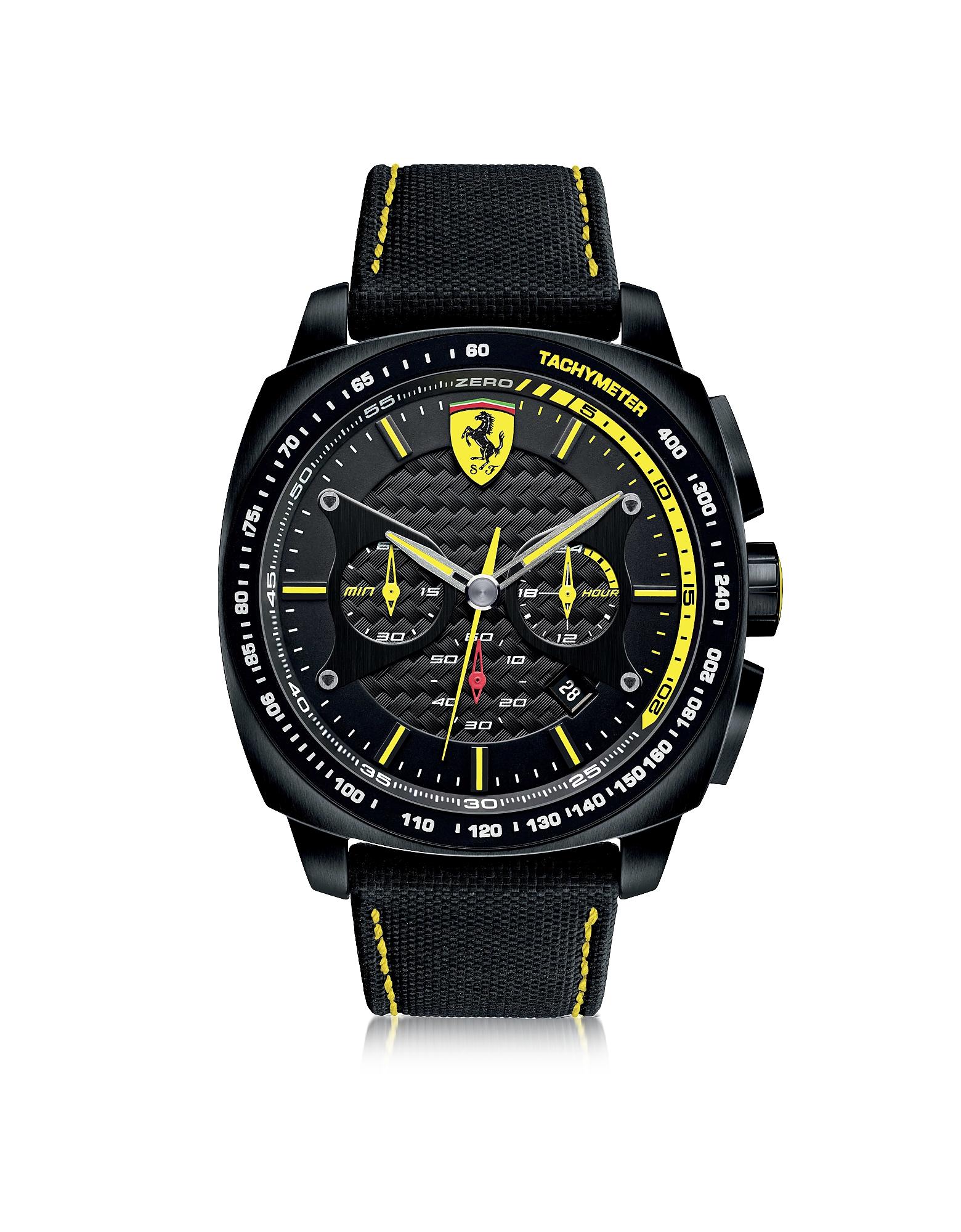 Ferrari | черный Aero Evo - Черные и Желтые Мужские Часы из Нержавеющей Стали с Ремешком из Нейлона | Clouty