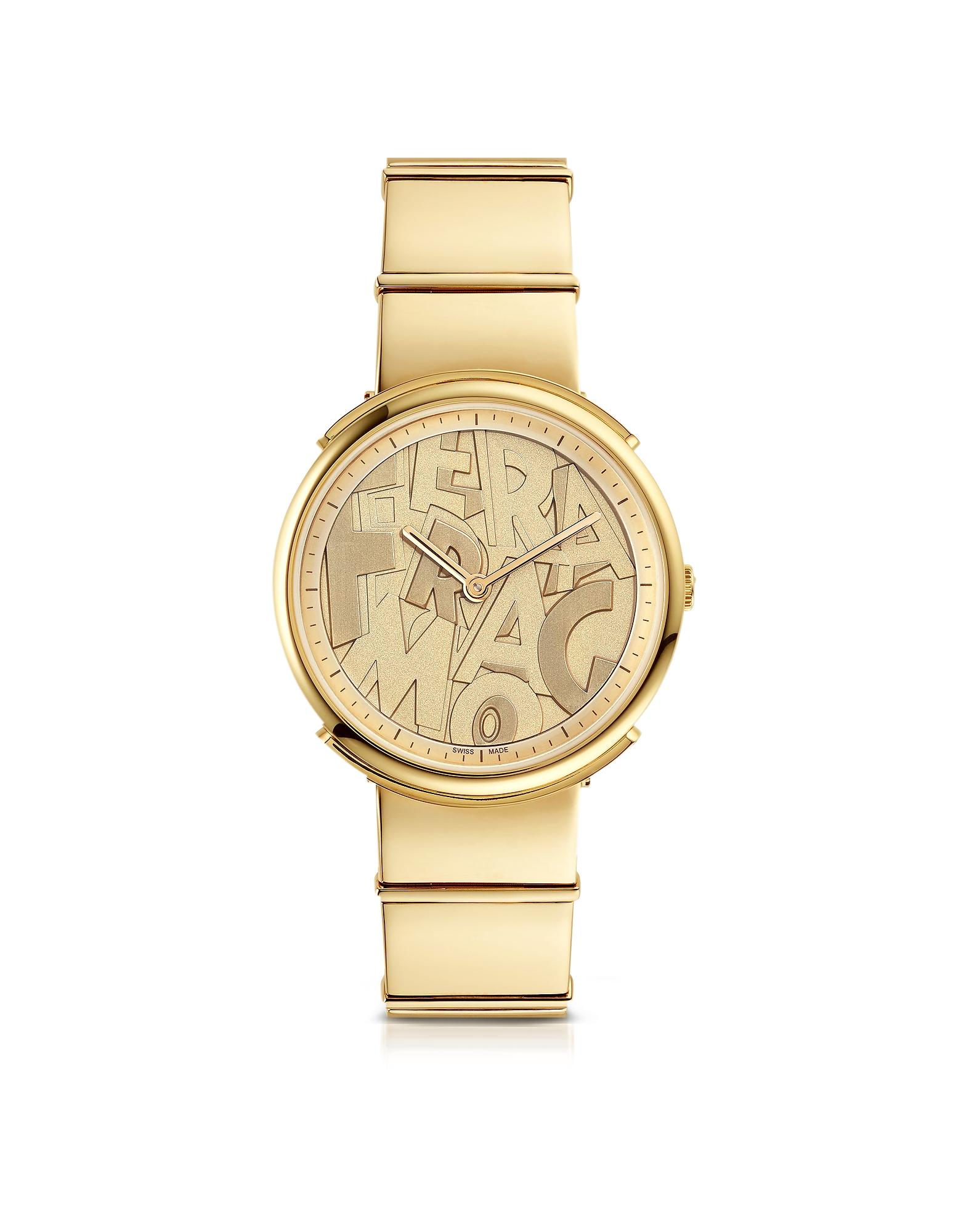 SALVATORE FERRAGAMO   золотистый Logomania - Позолоченные Матовые Женские Часы из Нержавеющей Стали с Буквами Ferragamo на Циферблате   Clouty