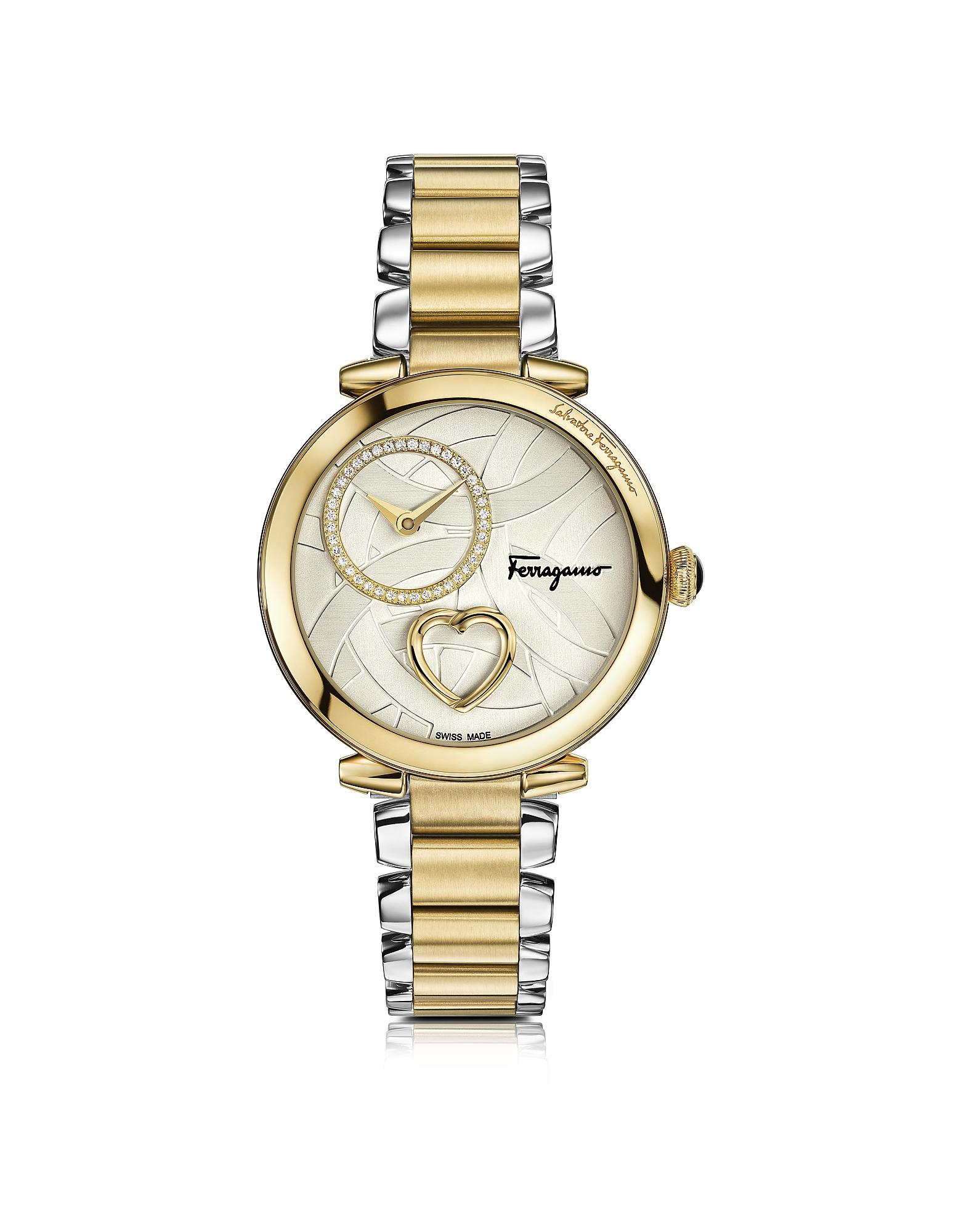 SALVATORE FERRAGAMO | серебристый Cuore Ferragamo - Женские Часы из Серебристой и Позолоченной Нержавеющей Стали с Бриллиантами, Сердцем и Браслетом | Clouty