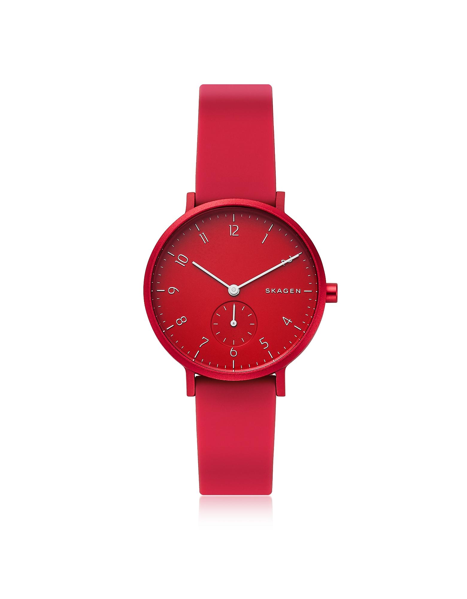 Skagen Denmark | красный Aaren Kulor- Красные Часы 36 мм на Силиконовом Ремешке | Clouty