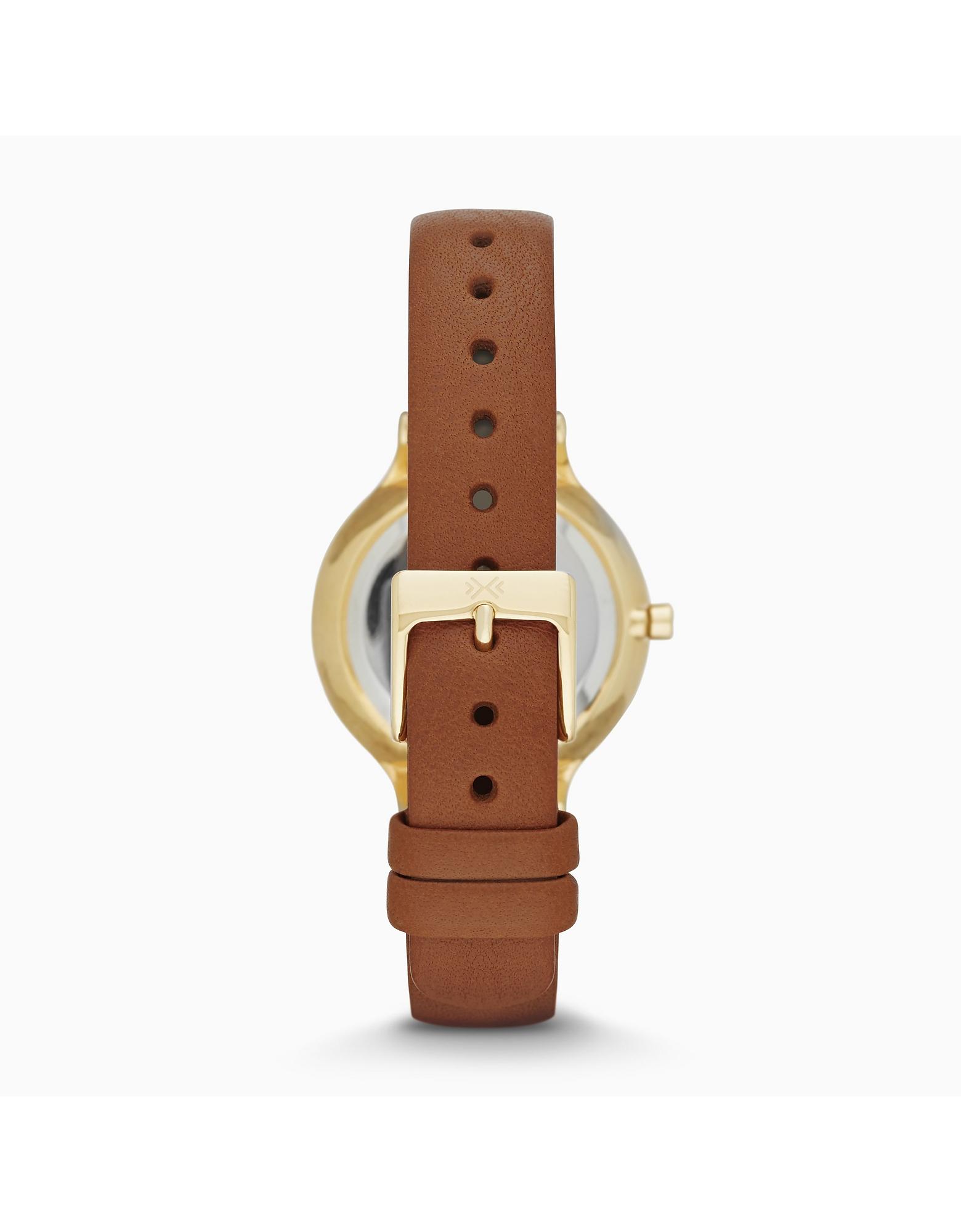 Skagen Denmark | золотистый Anita - Круглые Женские Часы с Ремешком из Седельной Кожи | Clouty