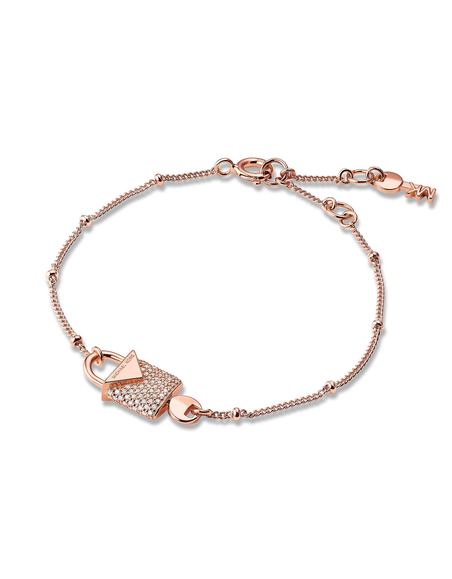 MICHAEL KORS | розовое золото Kors - Женский Браслет Оттенка Розового Золота с Замком и Паве | Clouty