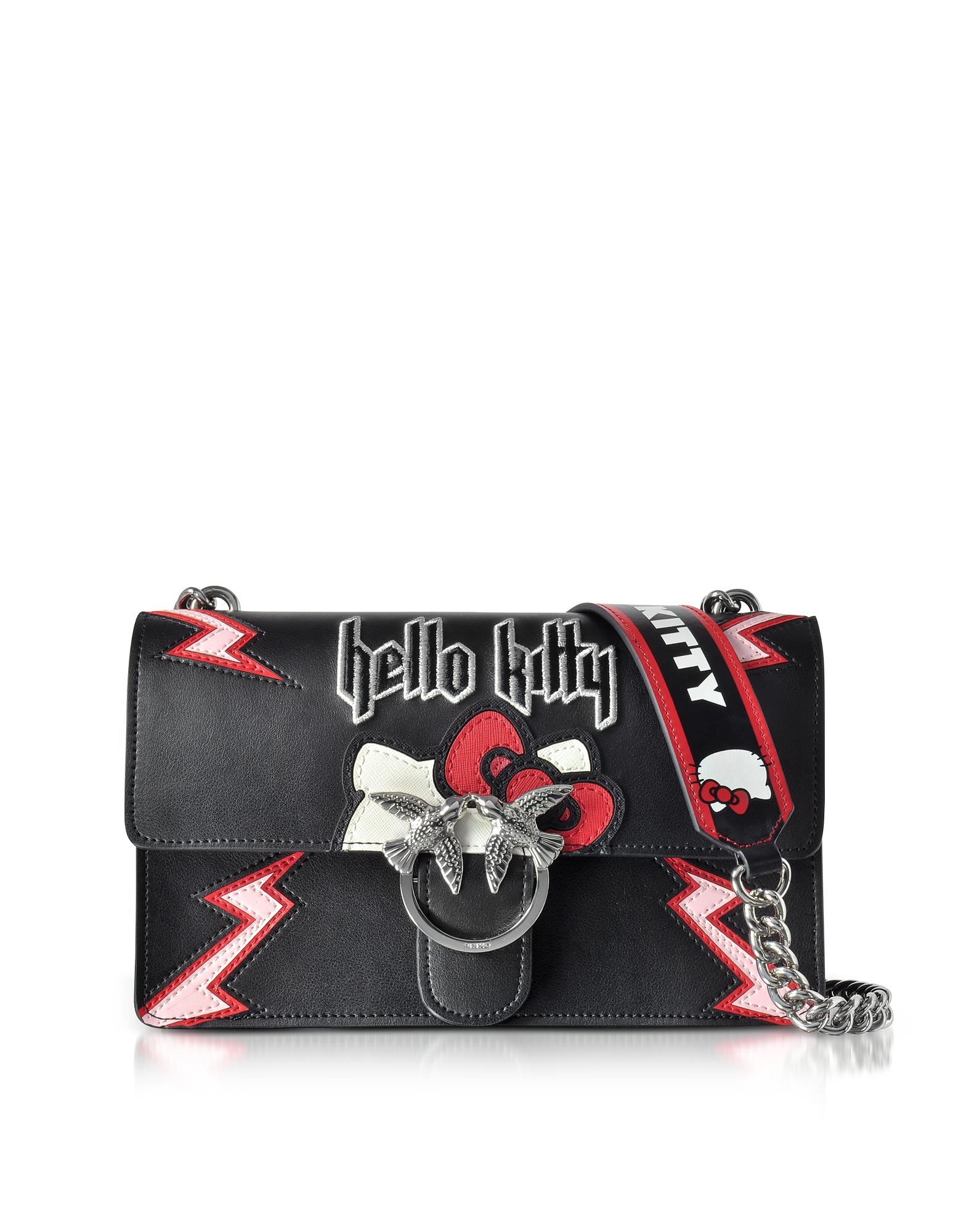 9df7cdbd0500 PINKO | черный Love Hello Kitty Rock - Черная Сумка на Плечо из Эко Кожи ...