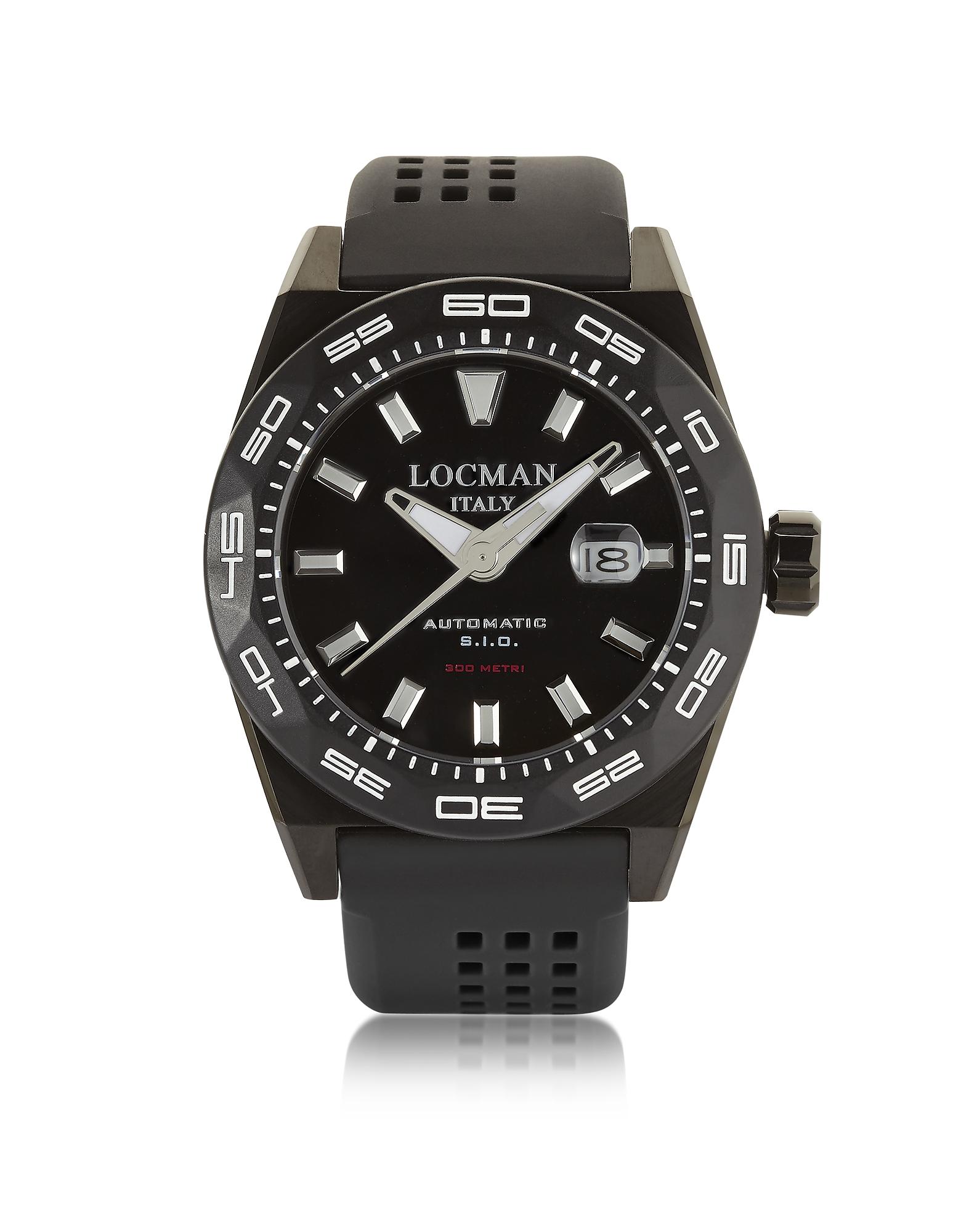 Locman | черный Stealth 300 mt - Черные Автоматические Мужские Часы с Аналоговым Дисплеем из Нержавеющей Стали, Титана и Силикона | Clouty