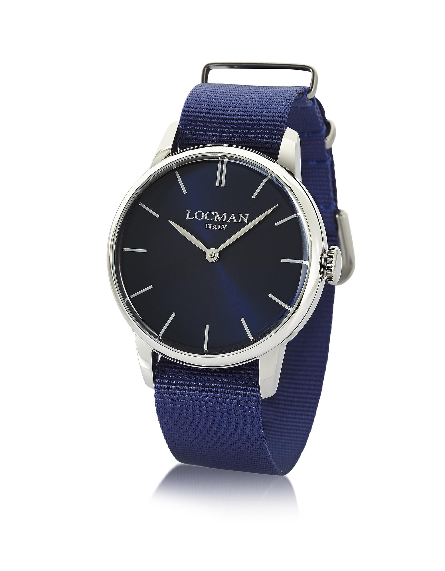 Locman | синий 1960 - Мужские Часы из Нержавеющей Стали с Синим Ремешком из Ткани | Clouty