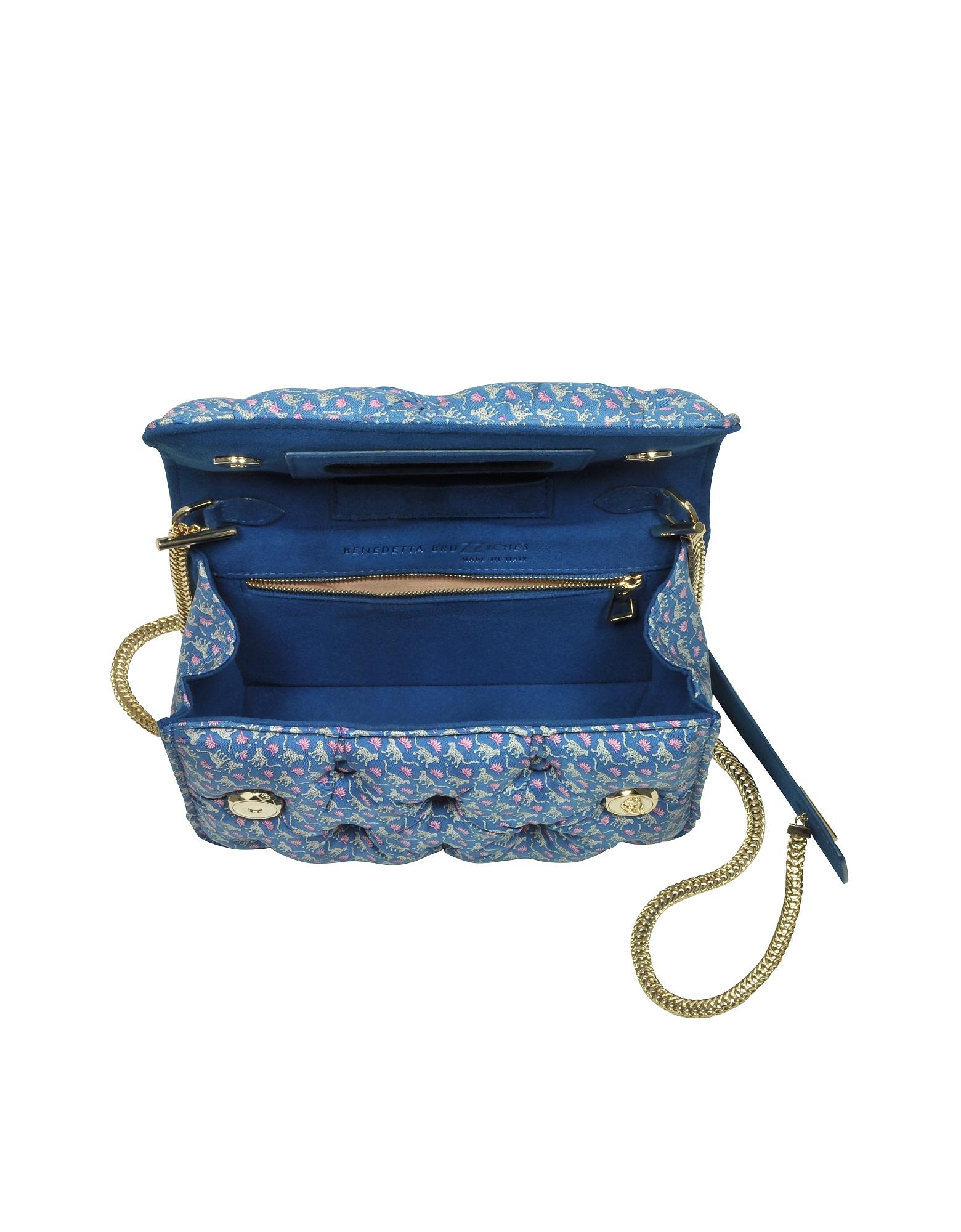 Benedetta Bruzziches | синий Carmen - Синяя Сумка на Плечо из Атласа с Леопардовым Принтом | Clouty