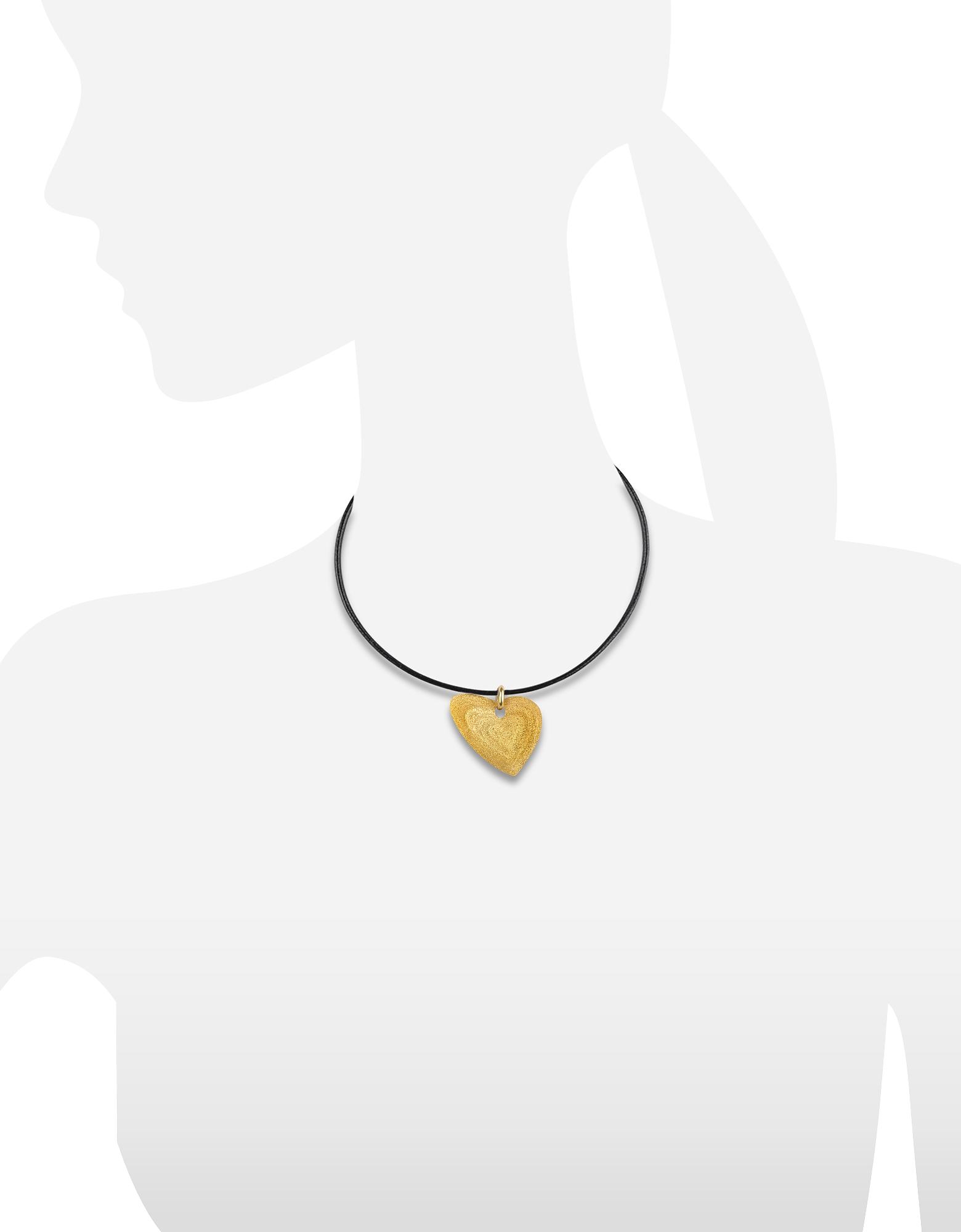 Stefano Patriarchi   золотистый Маленькая Подвеска-Сердце из Отчеканенного Золотистого Серебра на Кожаном Шнурке   Clouty
