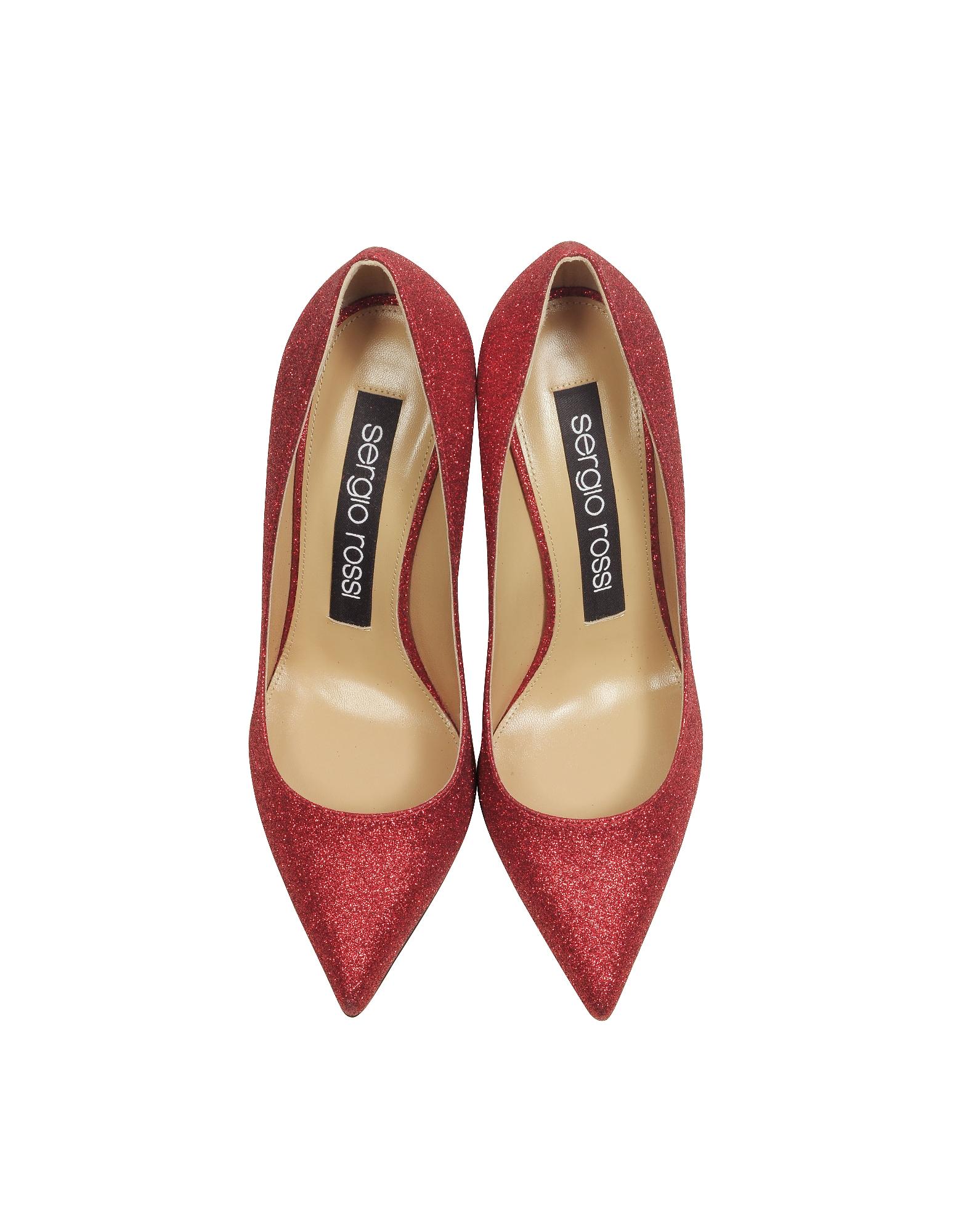 Sergio Rossi | Glitterama - Туфли Лодочки Оттенка Красный Кармин | Clouty