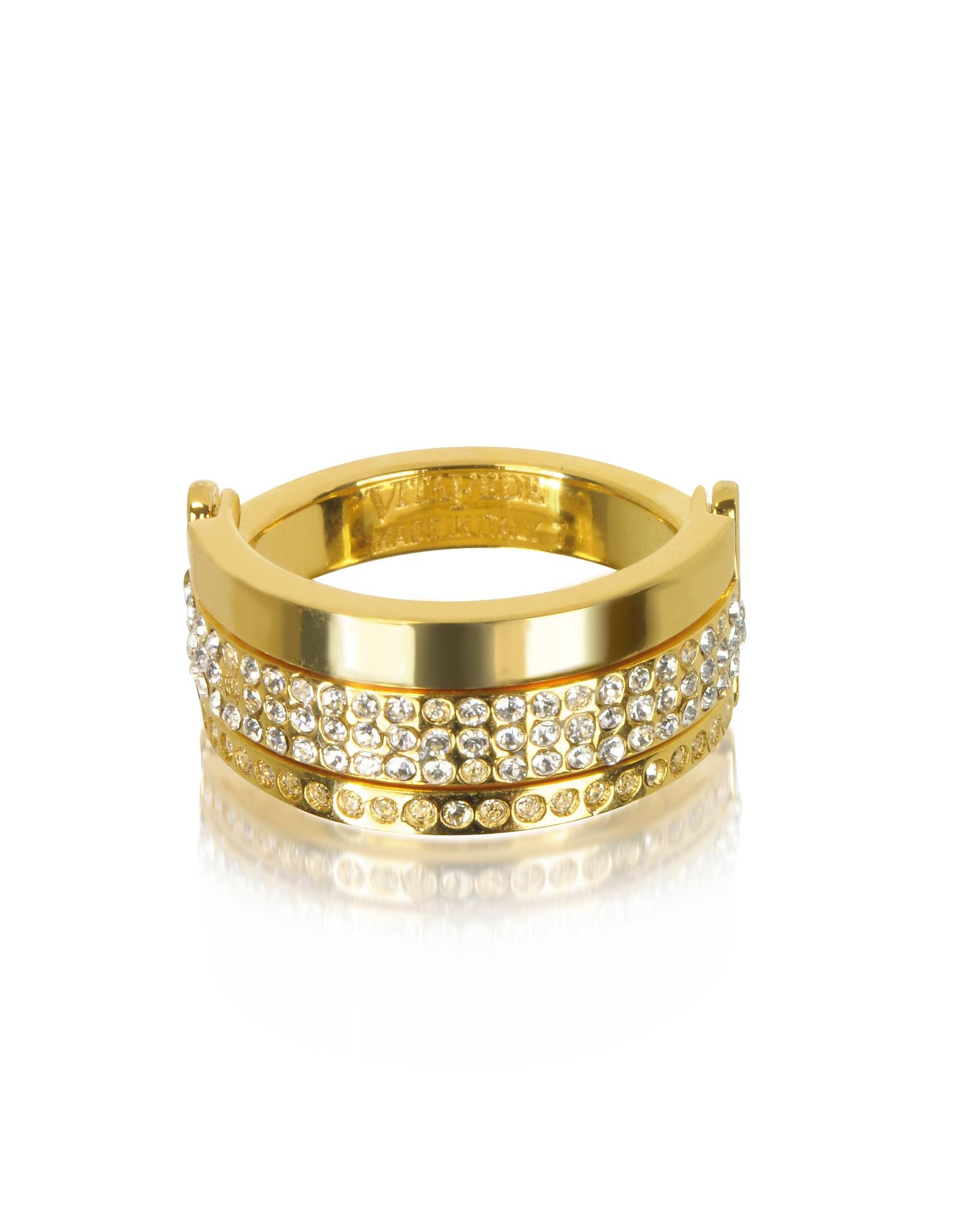 Vita Fede | золотистый Bardot - Золотистое Кольцо с Кристаллами | Clouty