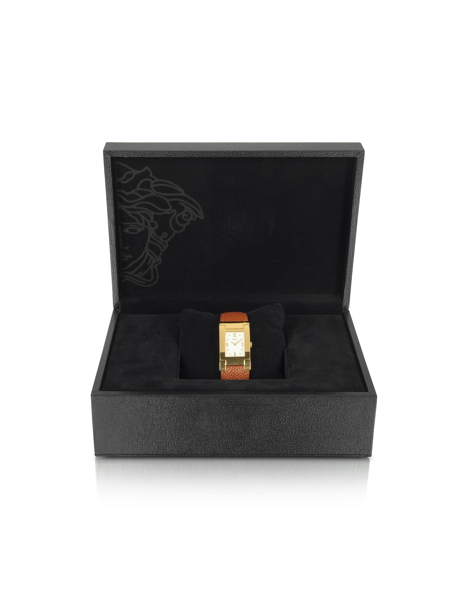 Versace | On Fifth – Мужские Позолоченные Часы на Коричневом Кожаном Ремешке | Clouty