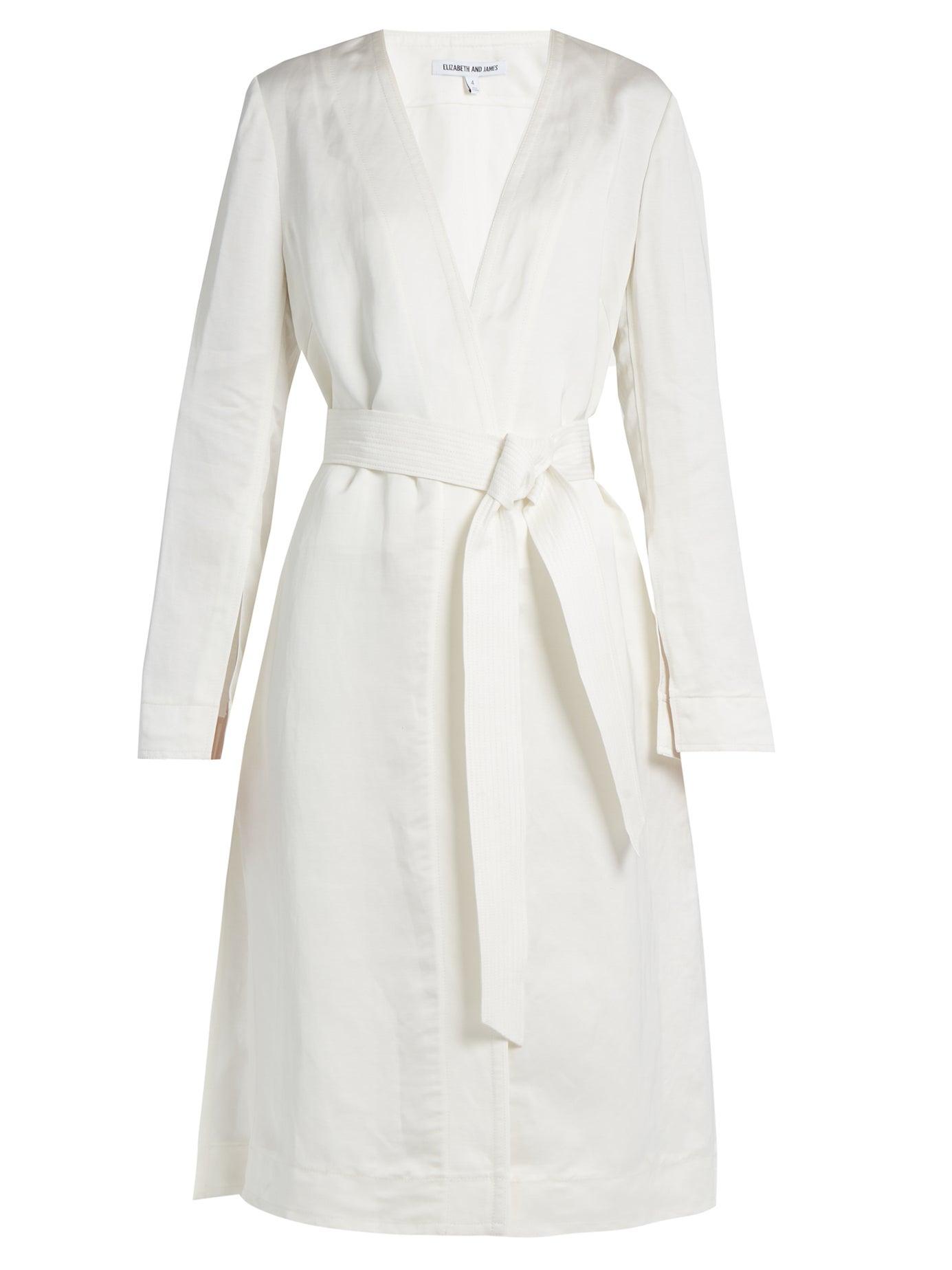 Elizabeth And James   Archer tie-waist linen-blend coat   Clouty
