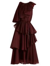 Фото Asymmetric ruffled crepe de Chine dress