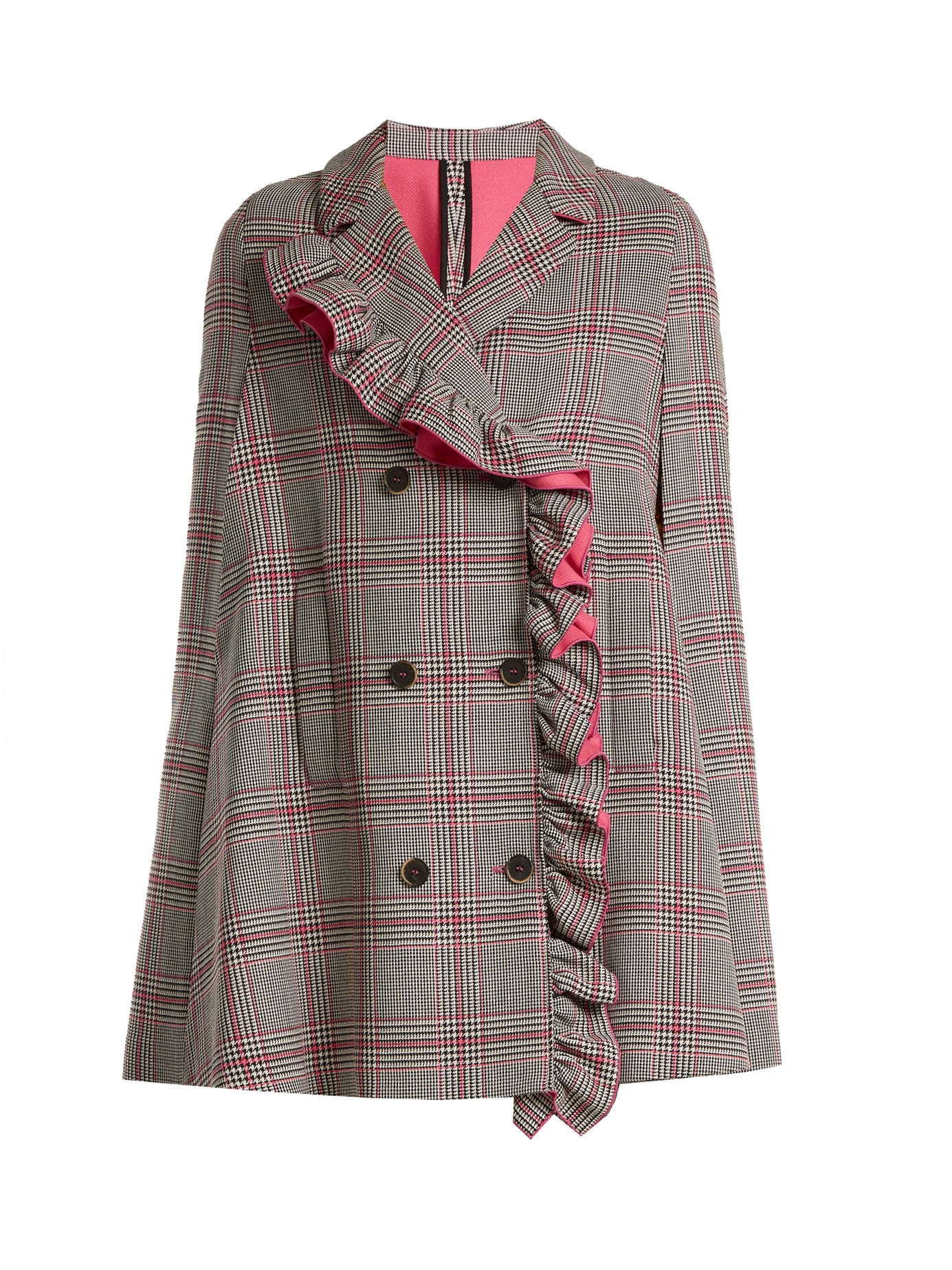 MSGM | Asymmetric-ruffle Prince of Wales-checked cape | Clouty