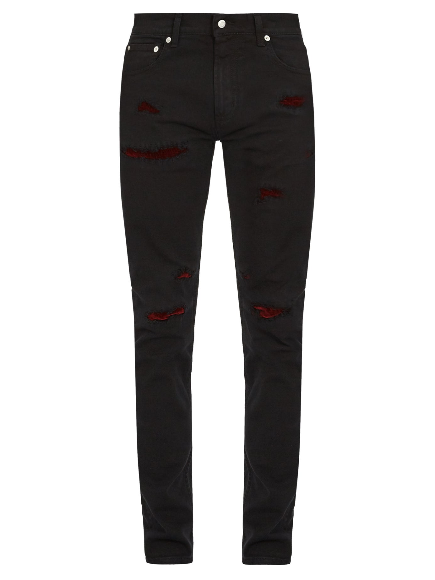 Alexander McQueen | Slim-leg distressed denim jeans | Clouty