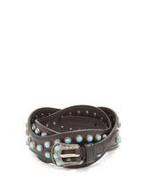 Фото Stone-embellished wavy leather belt