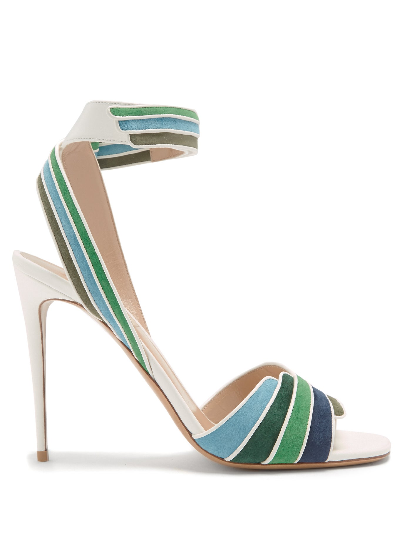 VALENTINO | Striped leather and suede sandals | Clouty