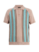 Point-collar striped-knit wool polo shirt