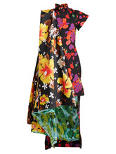 Contrast-panel dip-hem floral-print satin dress