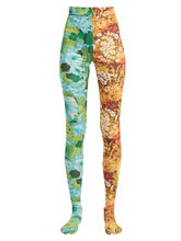 Contrasting floral-print high-rise leggings
