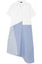 CLU - Asymmetric Paneled Cotton-poplin Dress - Blue