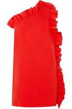MSGM - One-shoulder Ruffled Crepe Mini Dress - Red